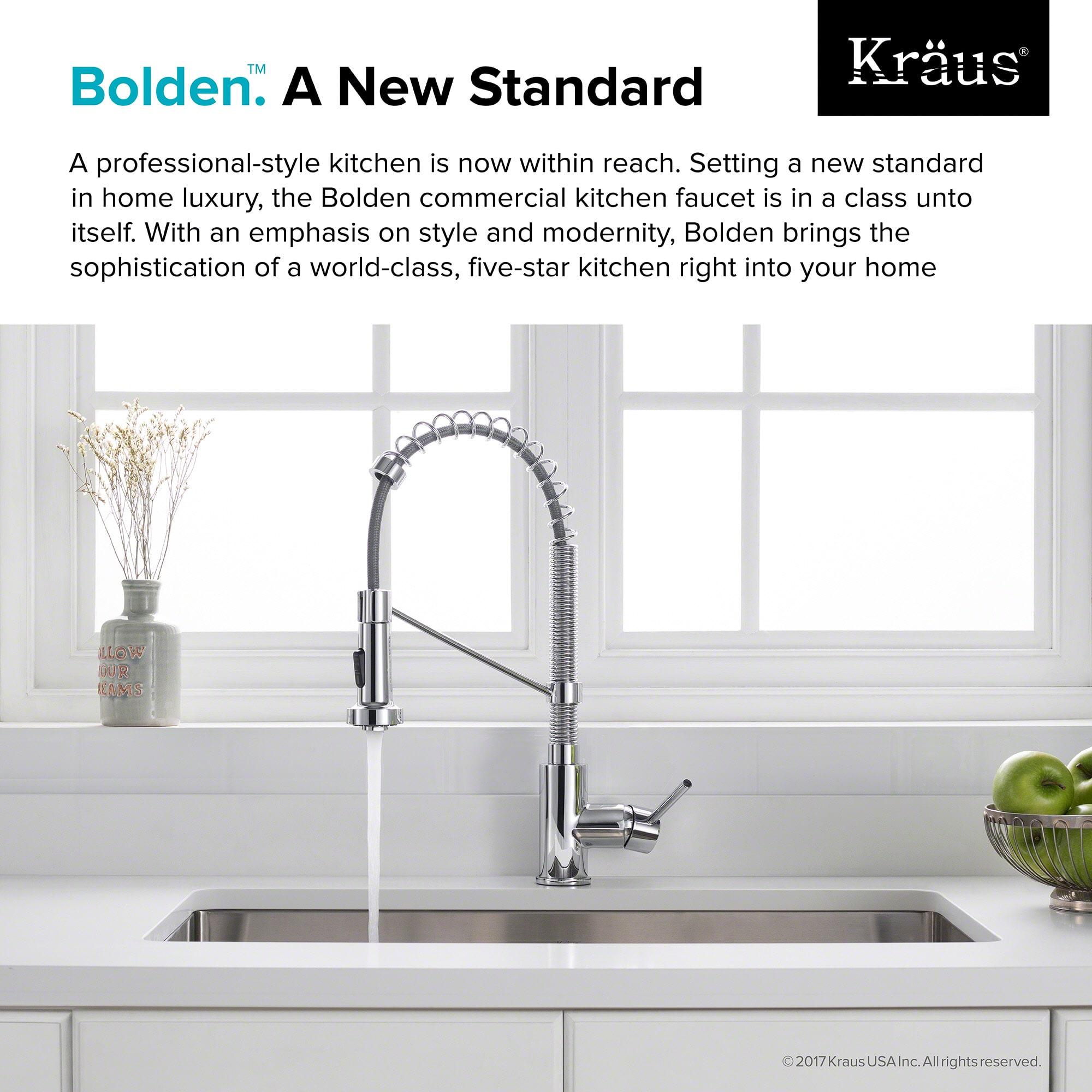 "Kraus KPF 1610CH Chrome Bolden 18"" Pull Down Spray Kitchen Faucet"