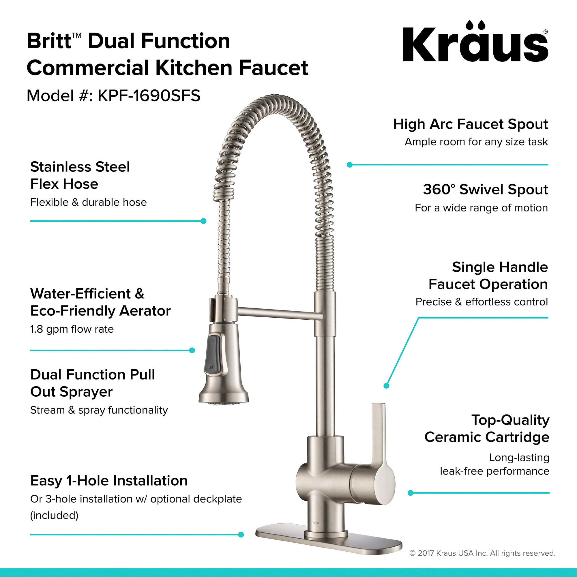 Kraus Kpf 1690sfs Spot Free Stainless Britt Pull Down Spray Kitchen