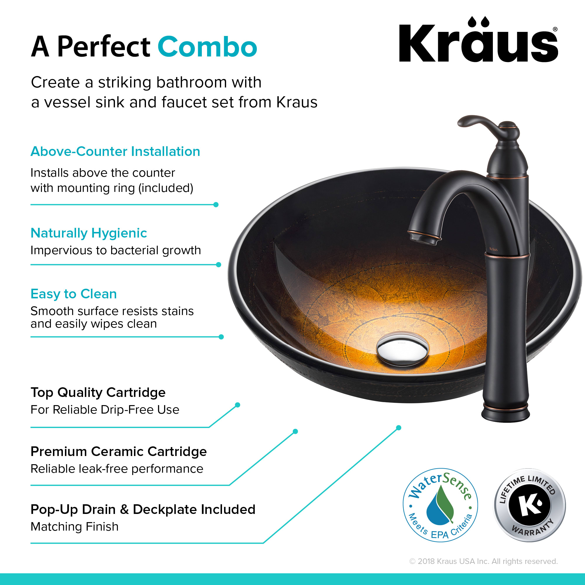Copper Kraus C-GV-580-12mm-1005ORB Illusion Glass Vessel Sink and Riviera Faucet Oil Rubbed Bronze