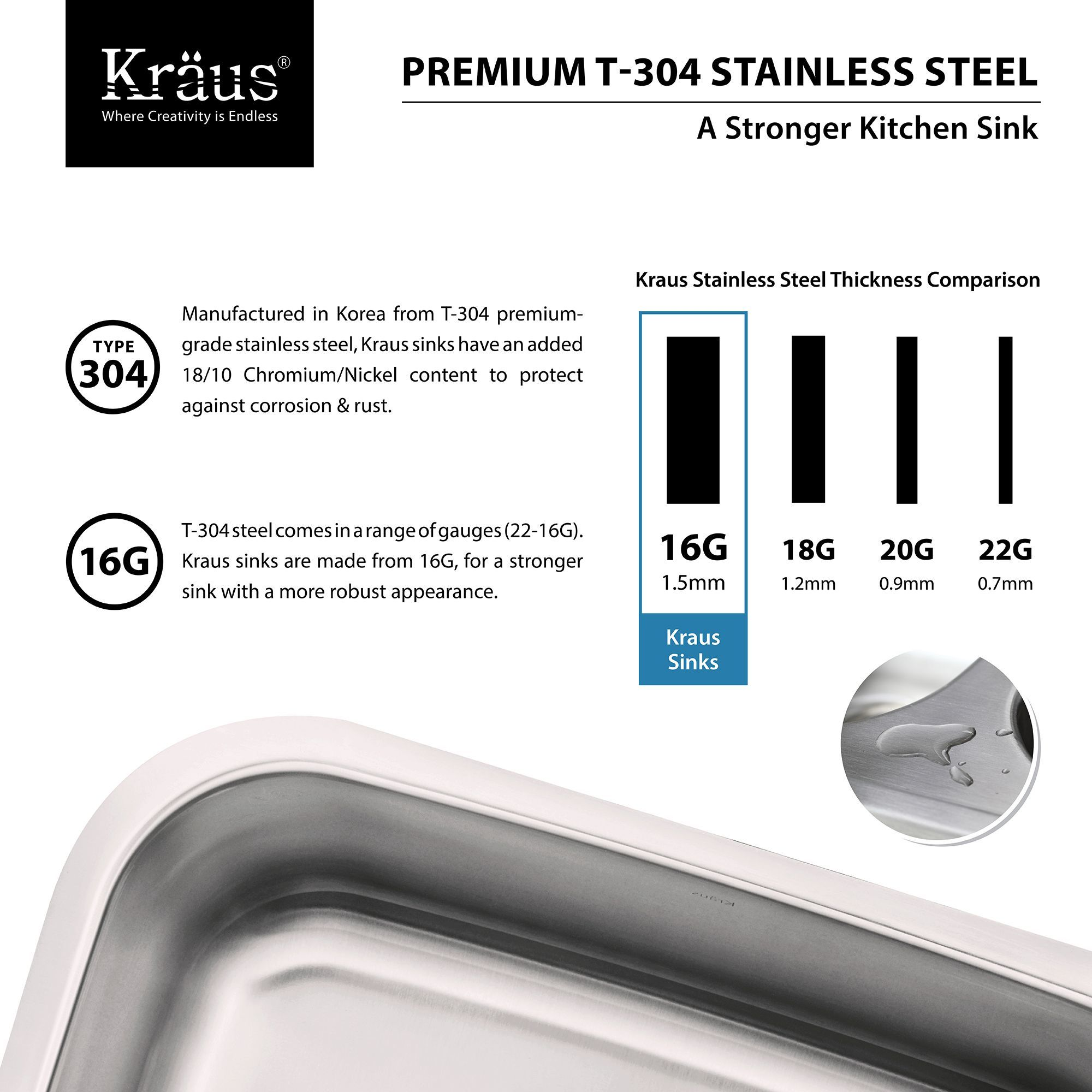 "Kraus KBU14 Stainless Steel 31 1 2"" Single Basin 16 Gauge"