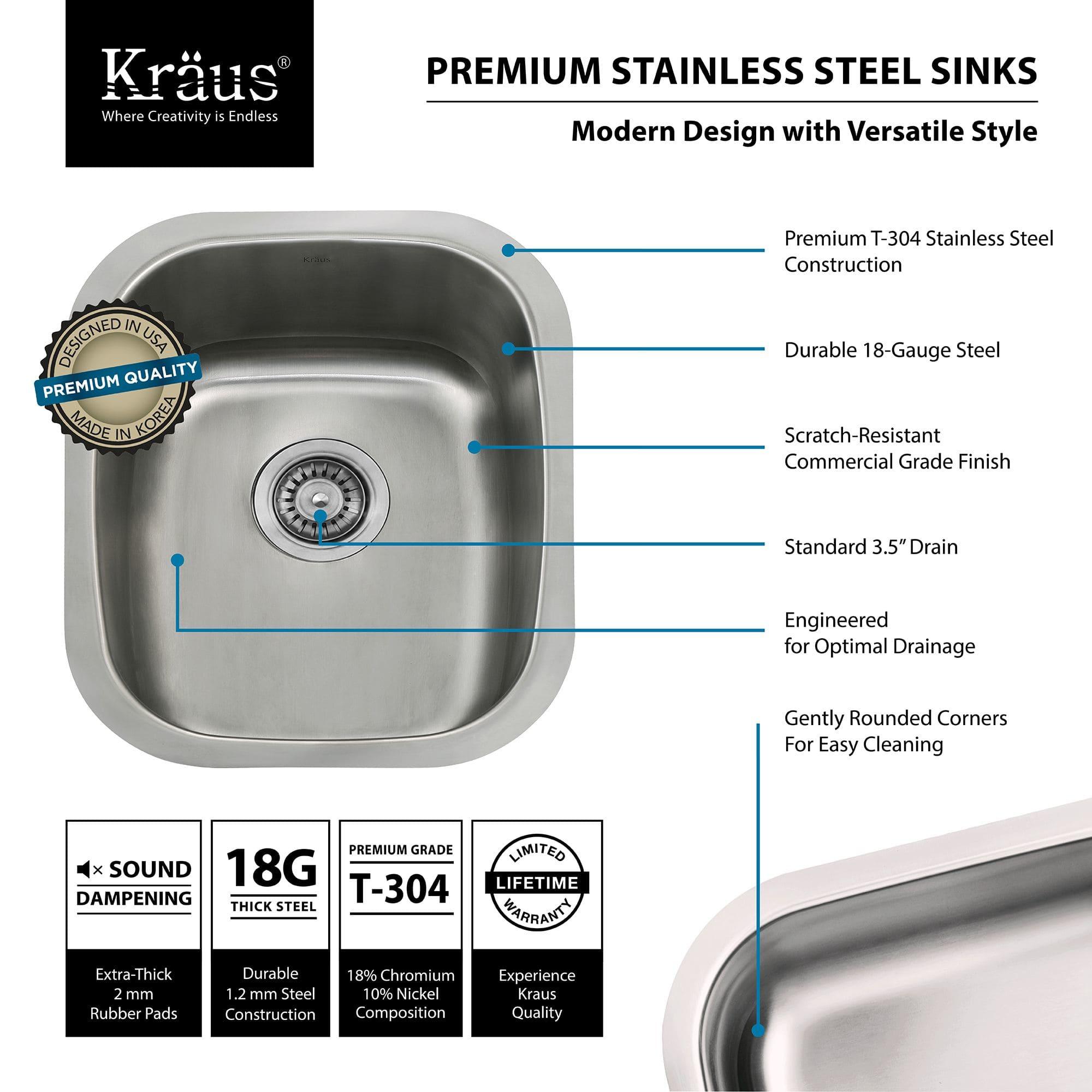 Kitchen Sink Specifications Kraus kbu16 stainless steel 15 undermount single bowl 18 gauge kraus kbu16 stainless steel 15 undermount single bowl 18 gauge stainless steel kitchen sink faucet workwithnaturefo