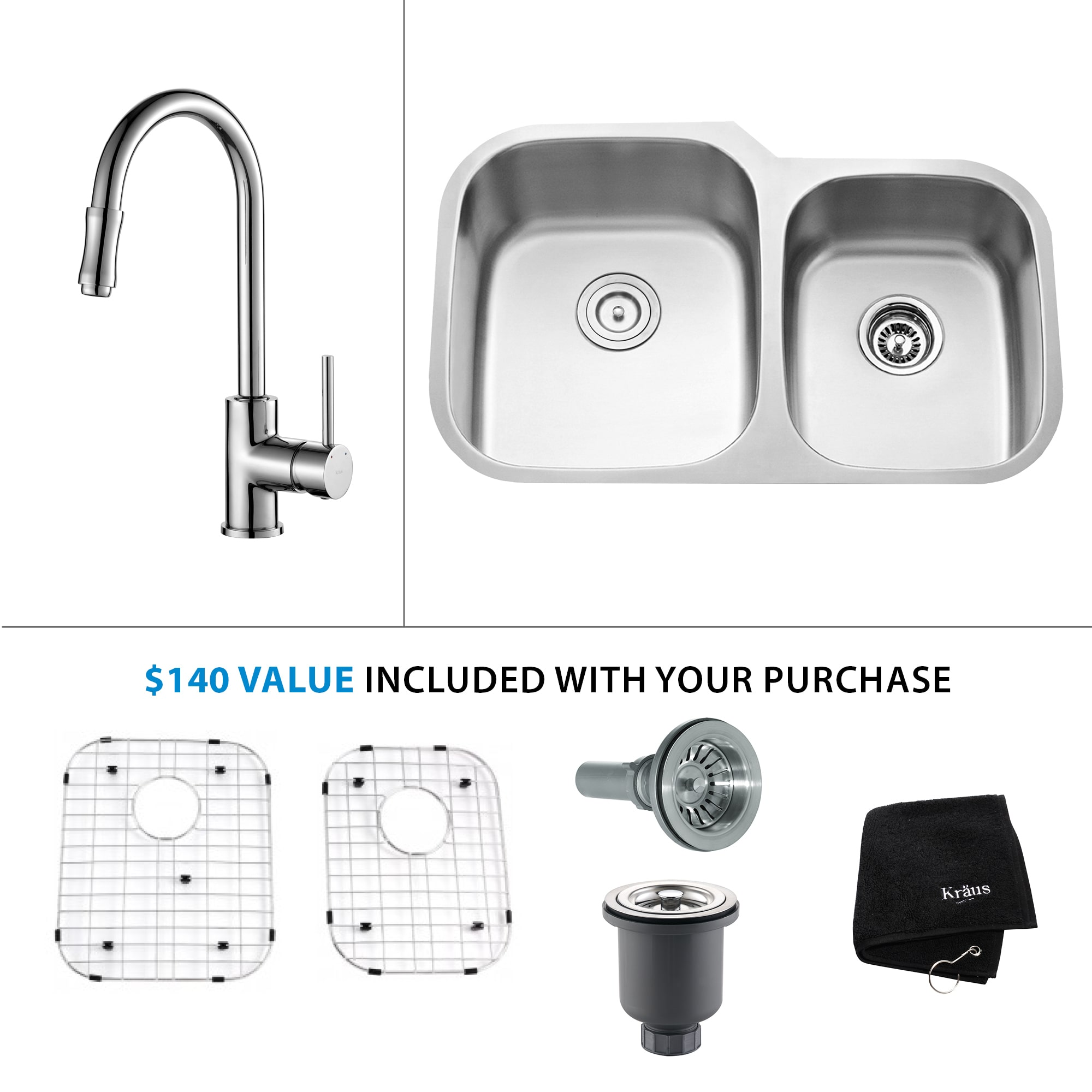 Kraus Kbu24 Kpf 1622ch Stainless Steel Chrome Kitchen Combo 32 Undermount Double Basin 16 Gauge Stainless Steel Kitchen Sink With Pullout Stream Kitchen Faucet Faucet Com