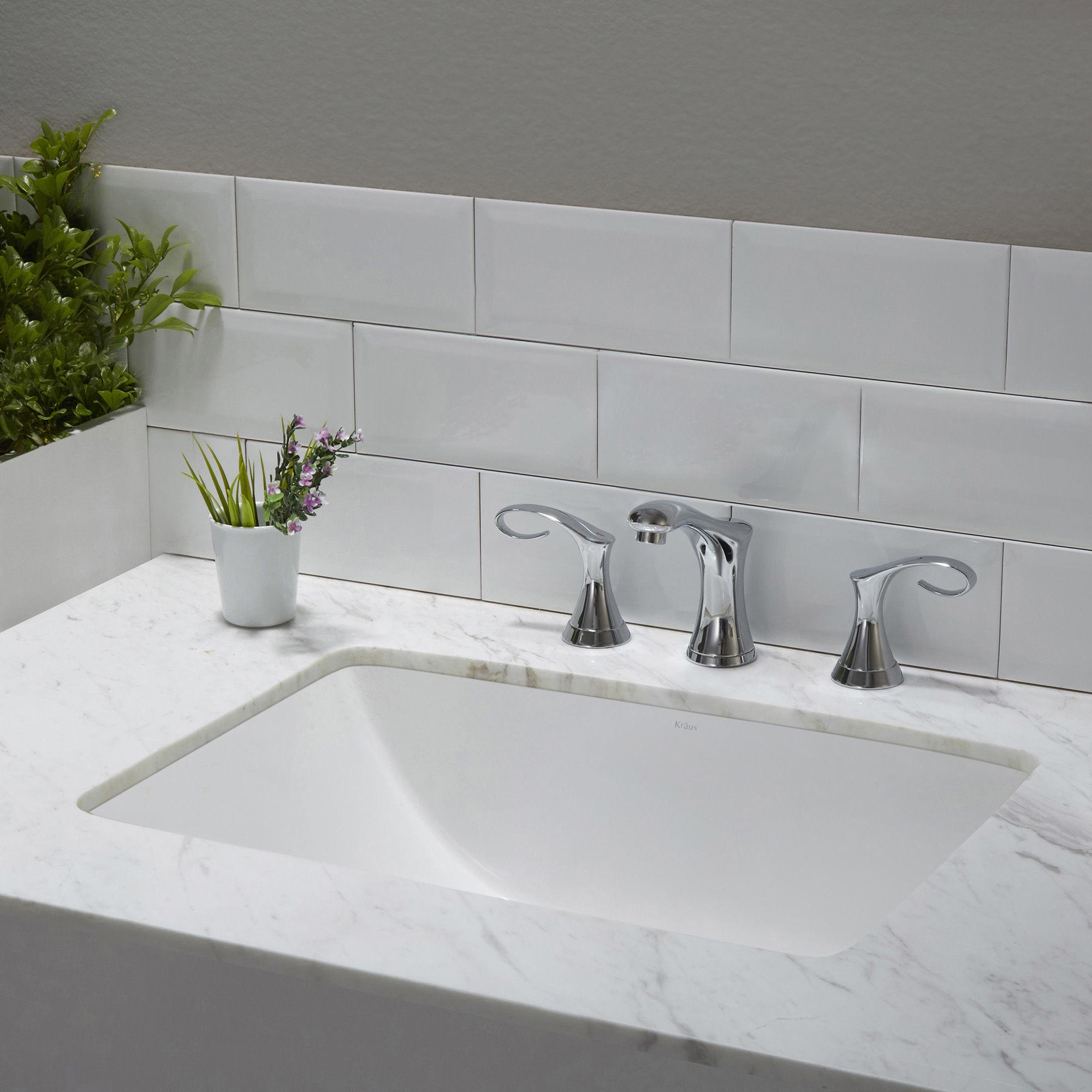 KRAUS White Ceramic Round Bathroom Sink