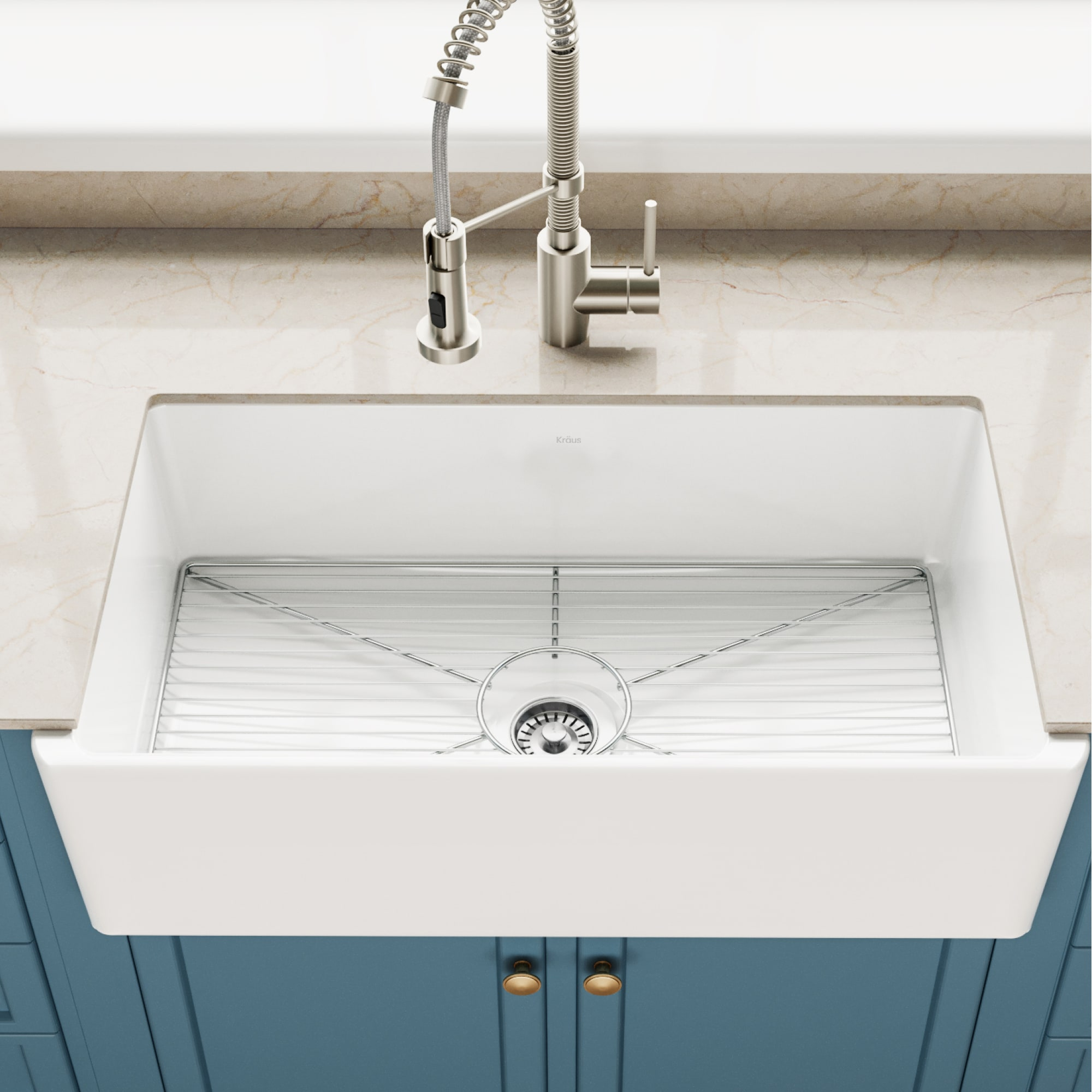 Kraus Kfr1 33gwh White Turino 33 Farmhouse Single Basin Fireclay Kitchen Sink With Basin Rack And Sound Dampening Faucetdirect Com