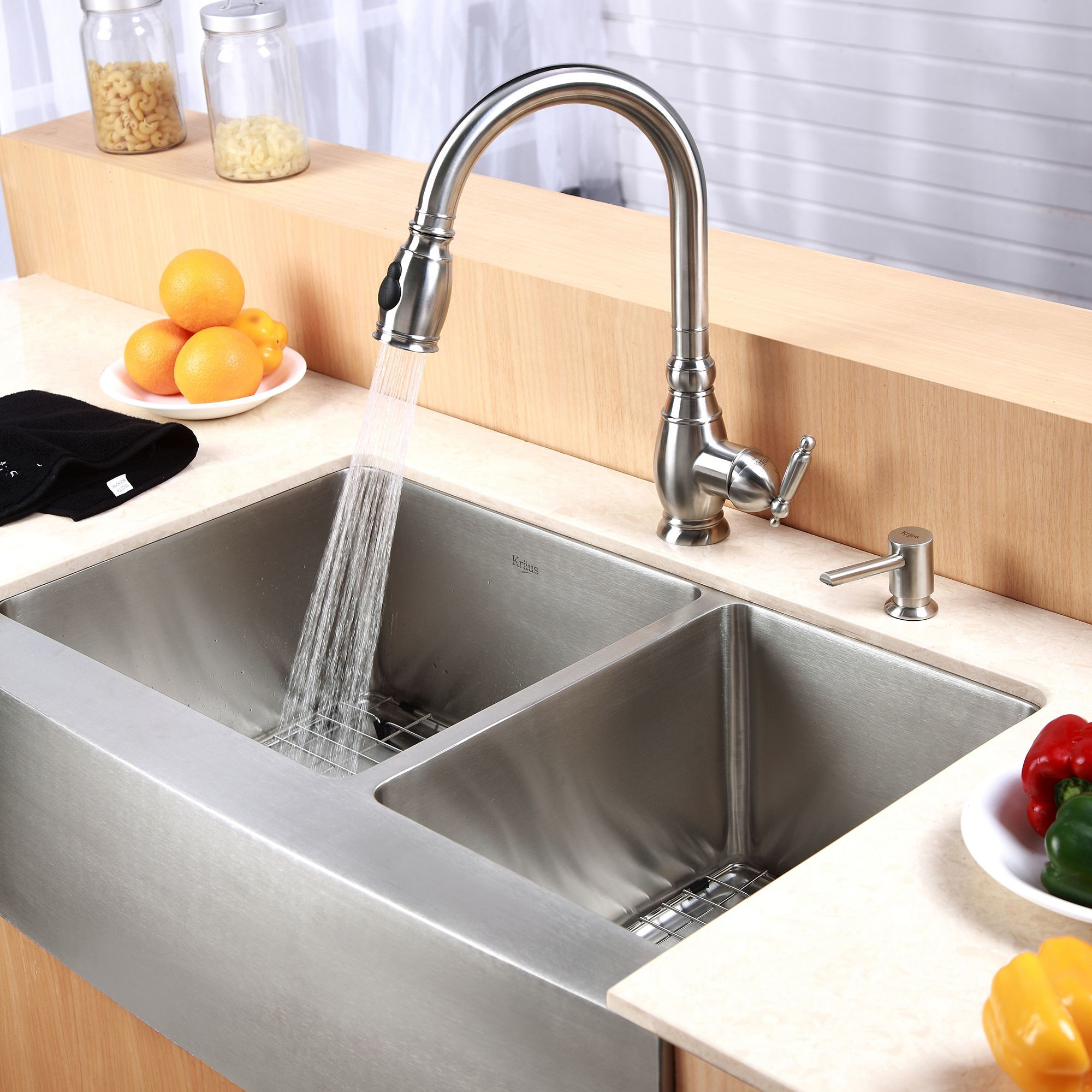 Kitchen Sinks Double Kraus khf203 33 stainless steel 32 78 double basin 16 gauge kraus khf203 33 stainless steel 32 78 double basin 16 gauge stainless steel kitchen sink for farmhouse installations with 6040 split basin racks and workwithnaturefo