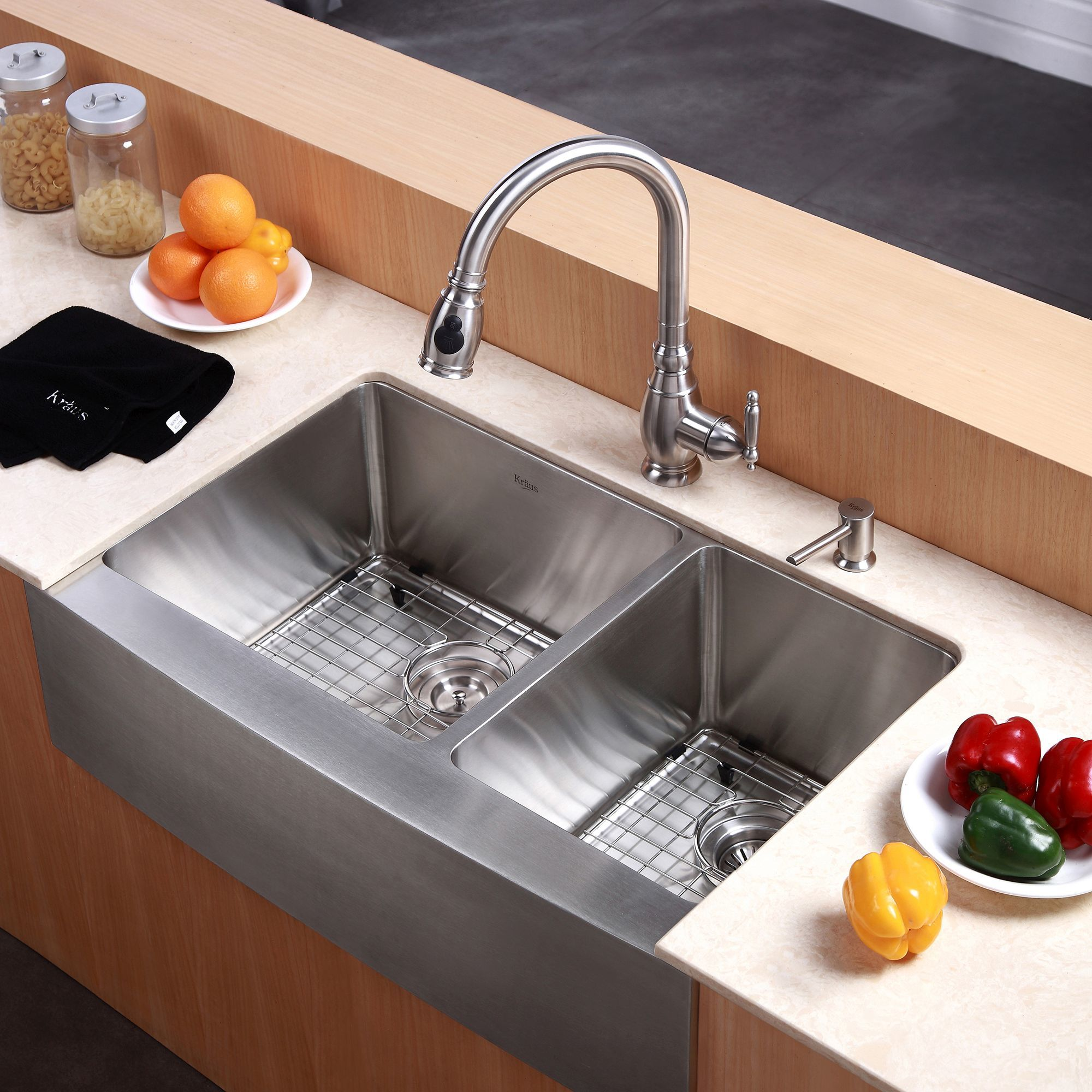 Kraus khf203 33 stainless steel 32 78 double basin 16 gauge kraus khf203 33 stainless steel 32 78 double basin 16 gauge stainless steel kitchen sink for farmhouse installations with 6040 split basin racks and workwithnaturefo