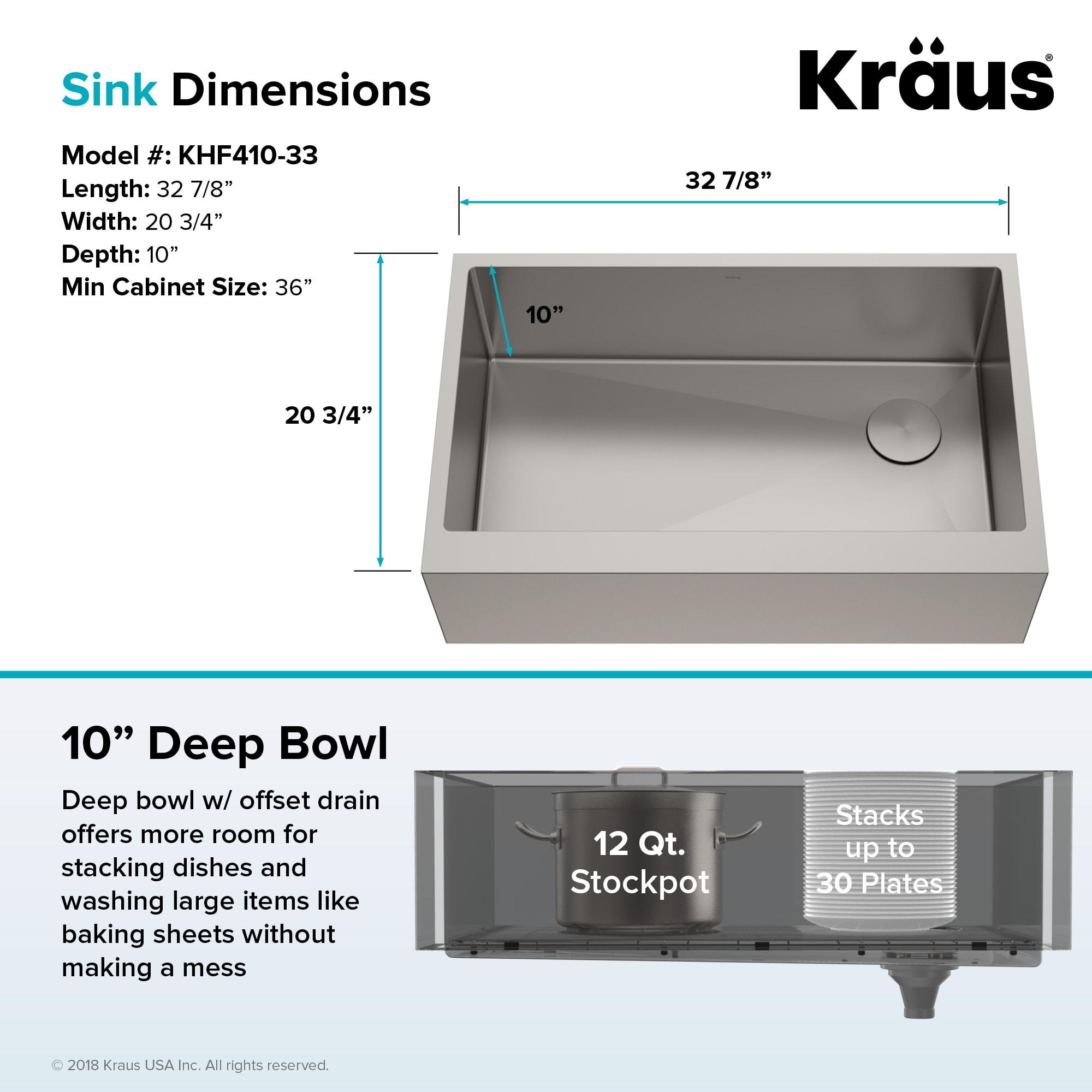 Kraus Khf410 33 Stainless Steel