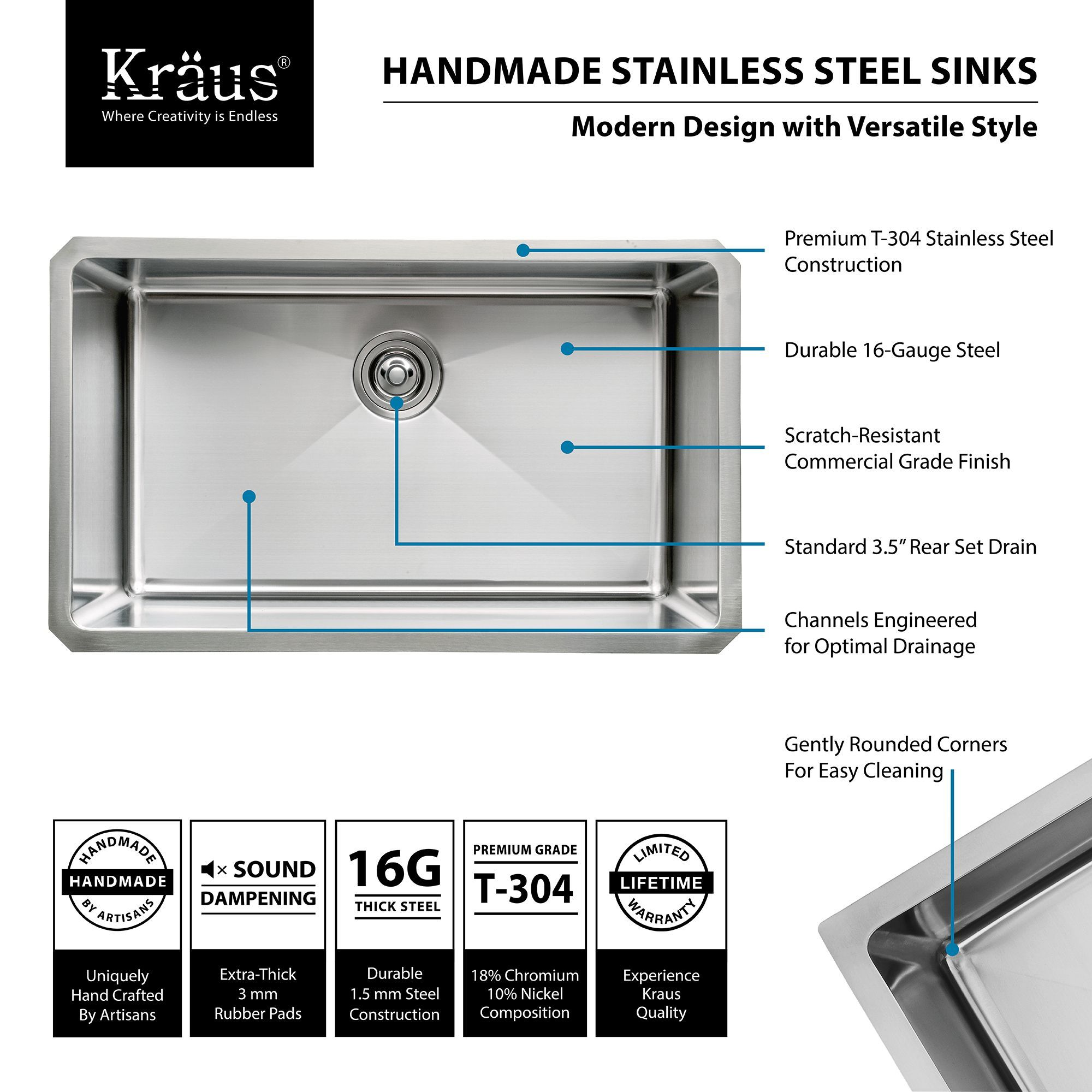 "Kraus KHU100 30 Stainless Steel 30"" Single Basin 16 Gauge"