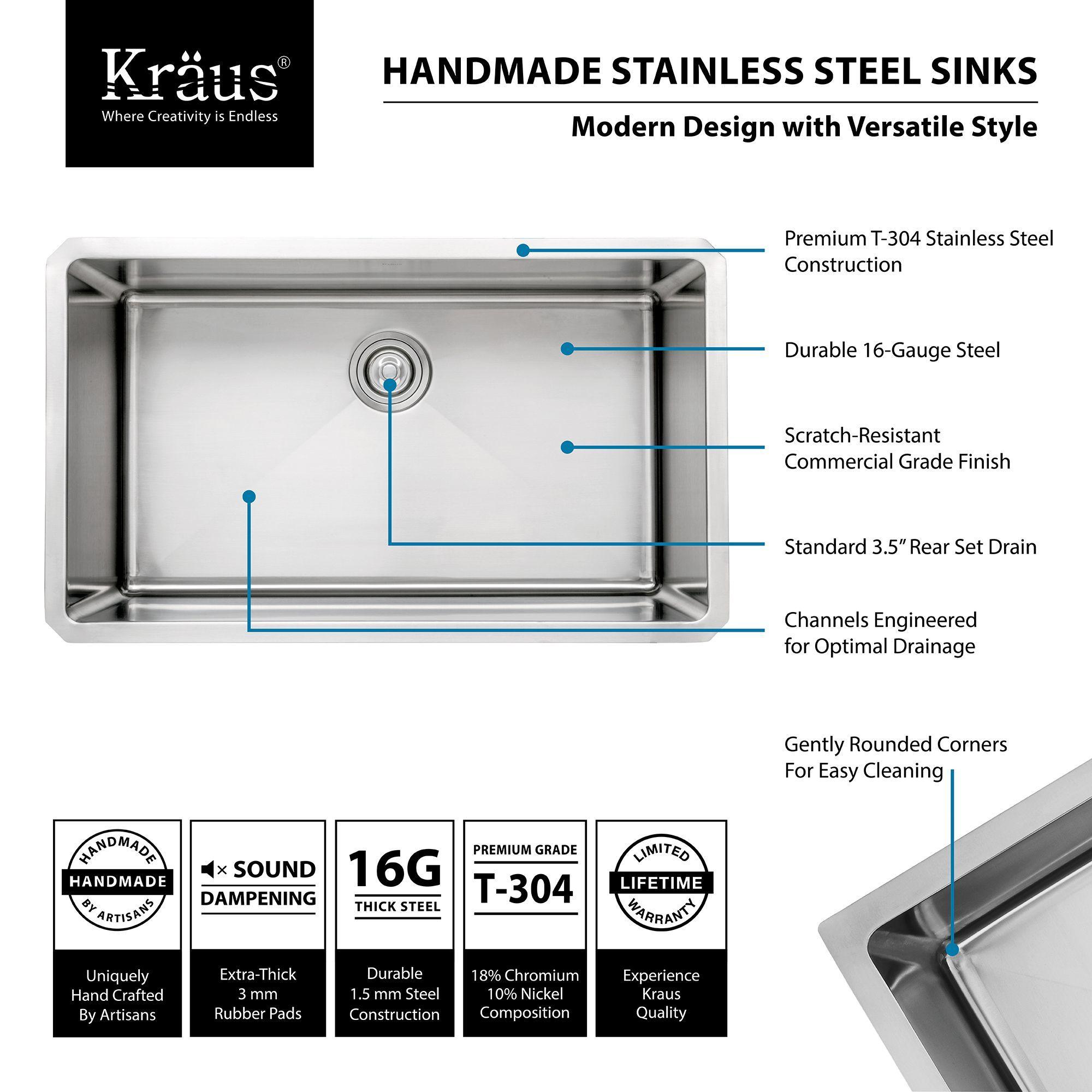 kraus khu100 32 kitchen sink build