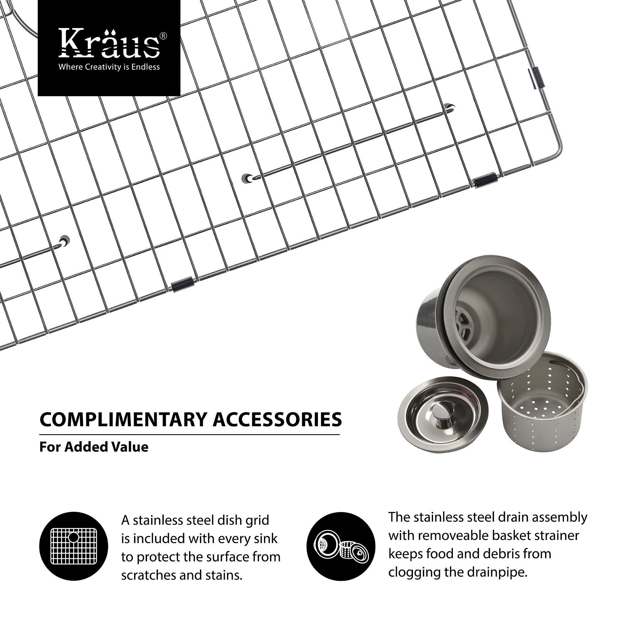 "Kraus KHU100 32 Stainless Steel 32"" Single Basin 16 Gauge"