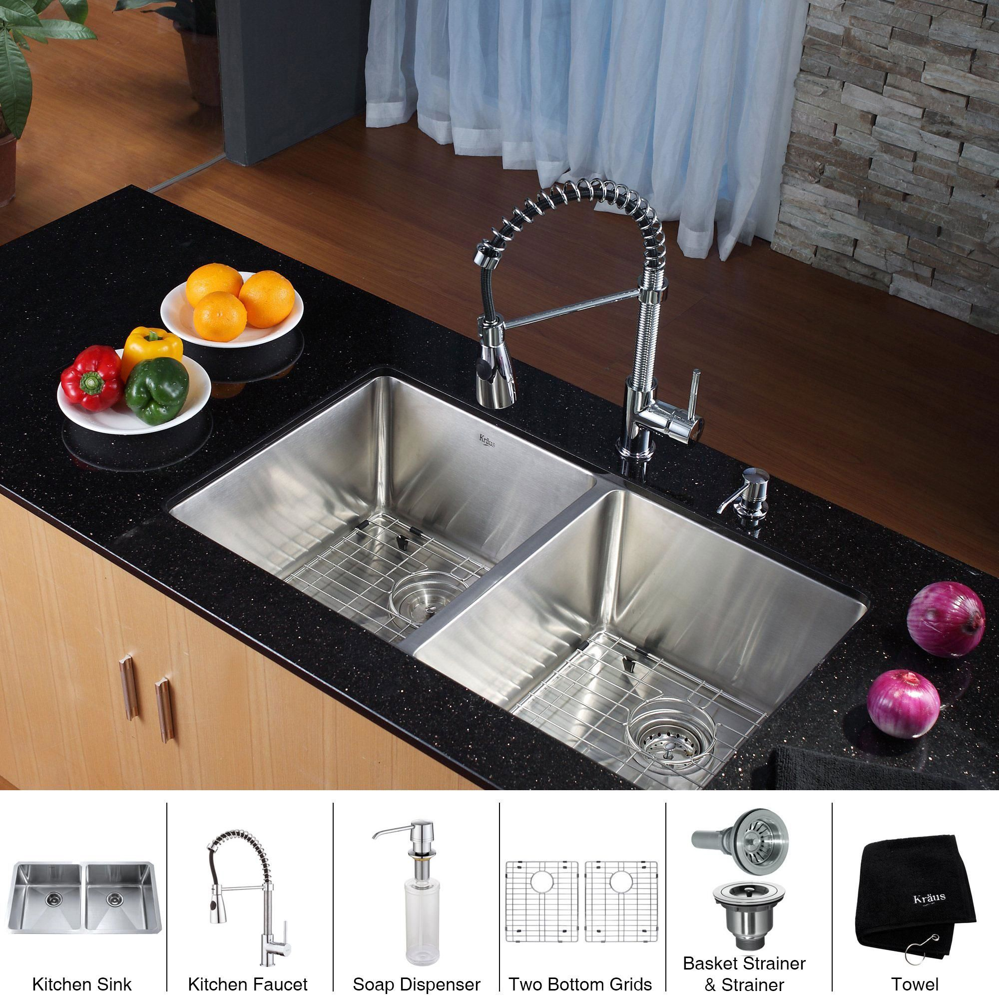 steel bination sink new kitchen sets gratograt stainless photos nola and of images single faucets faucet kraus kpf kraususa elegant
