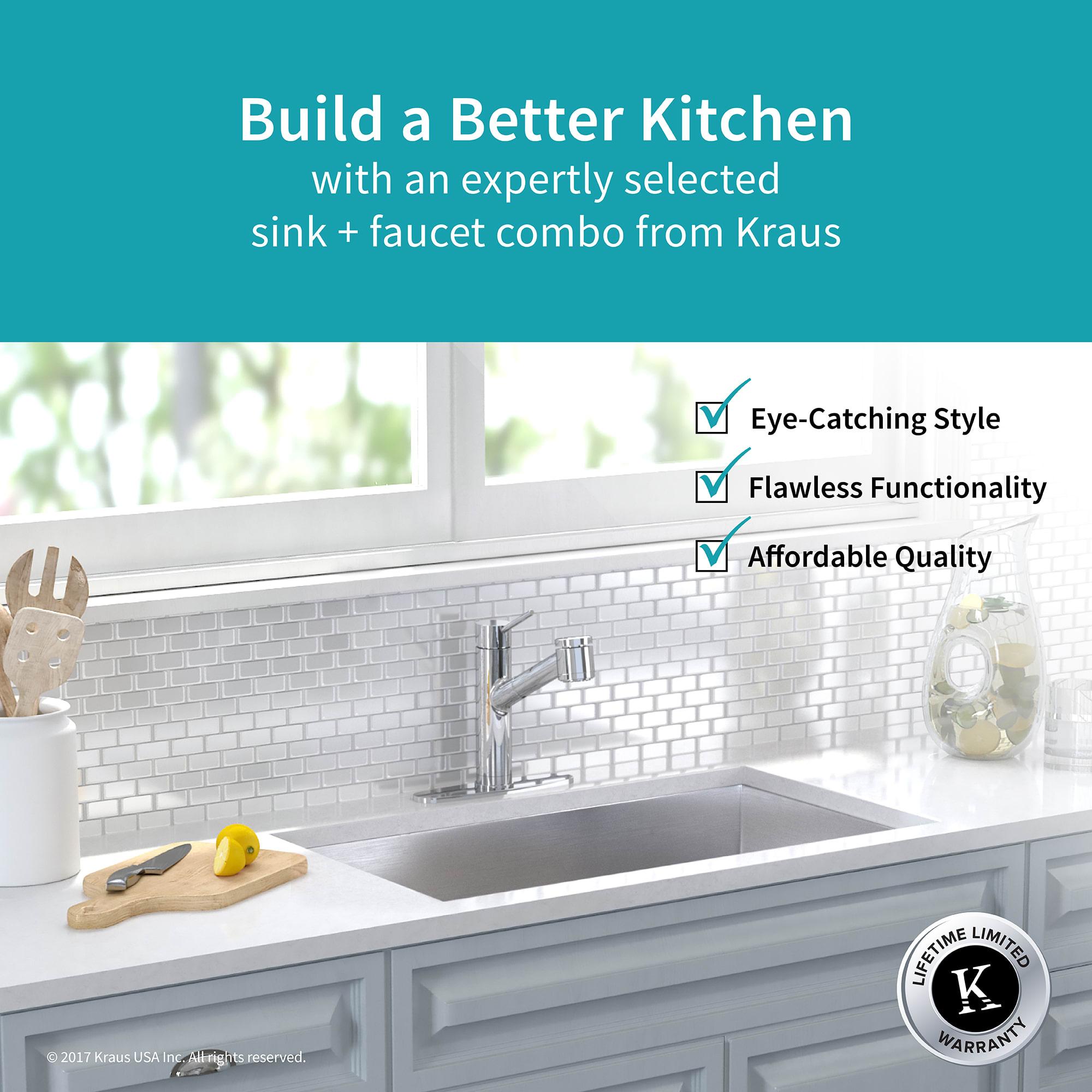 Kraus KHU32-2610-41CH Chrome Kitchen Combo 31-1/2\