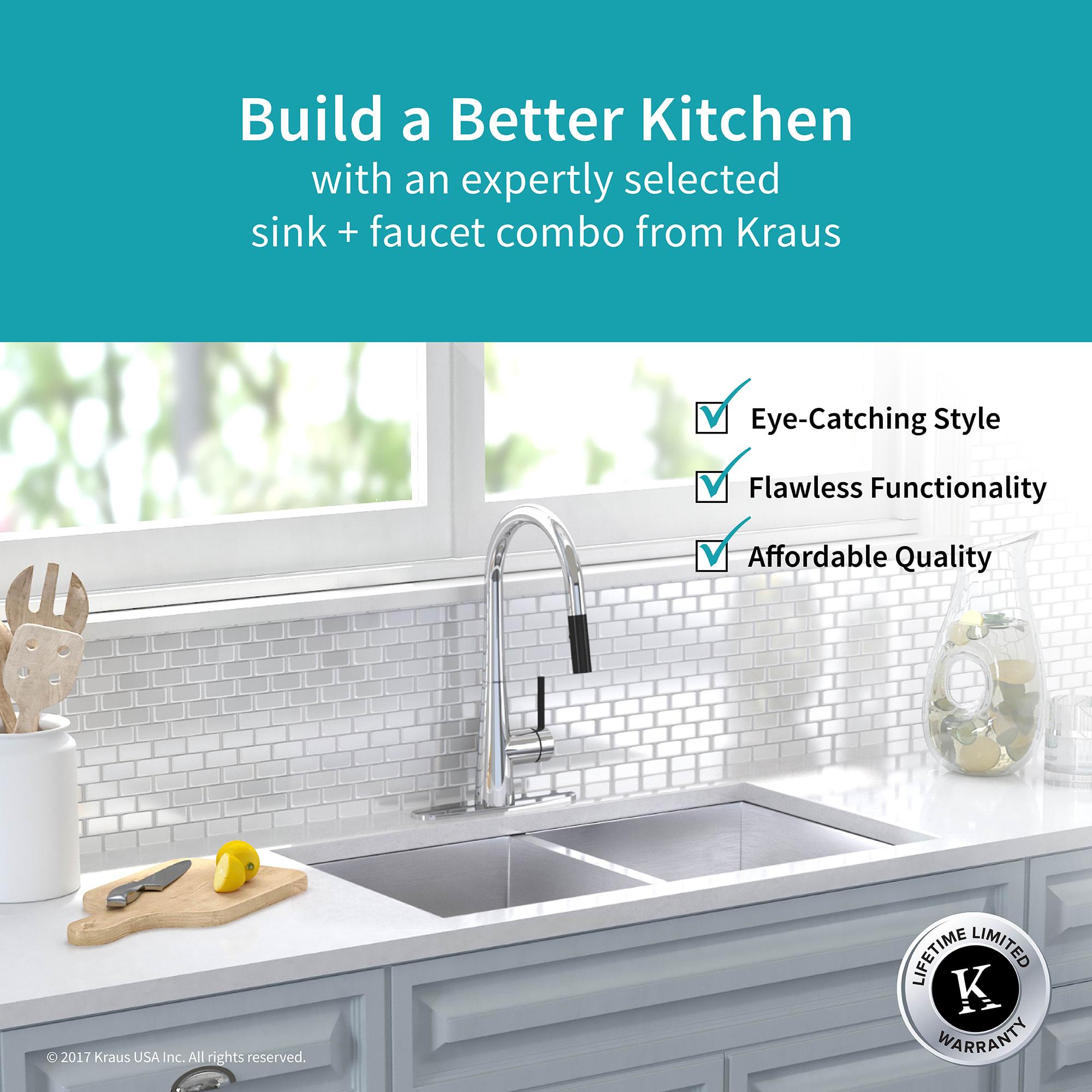 Kraus KHU322-2730-41CH Chrome Kitchen Combo 31-1/2\