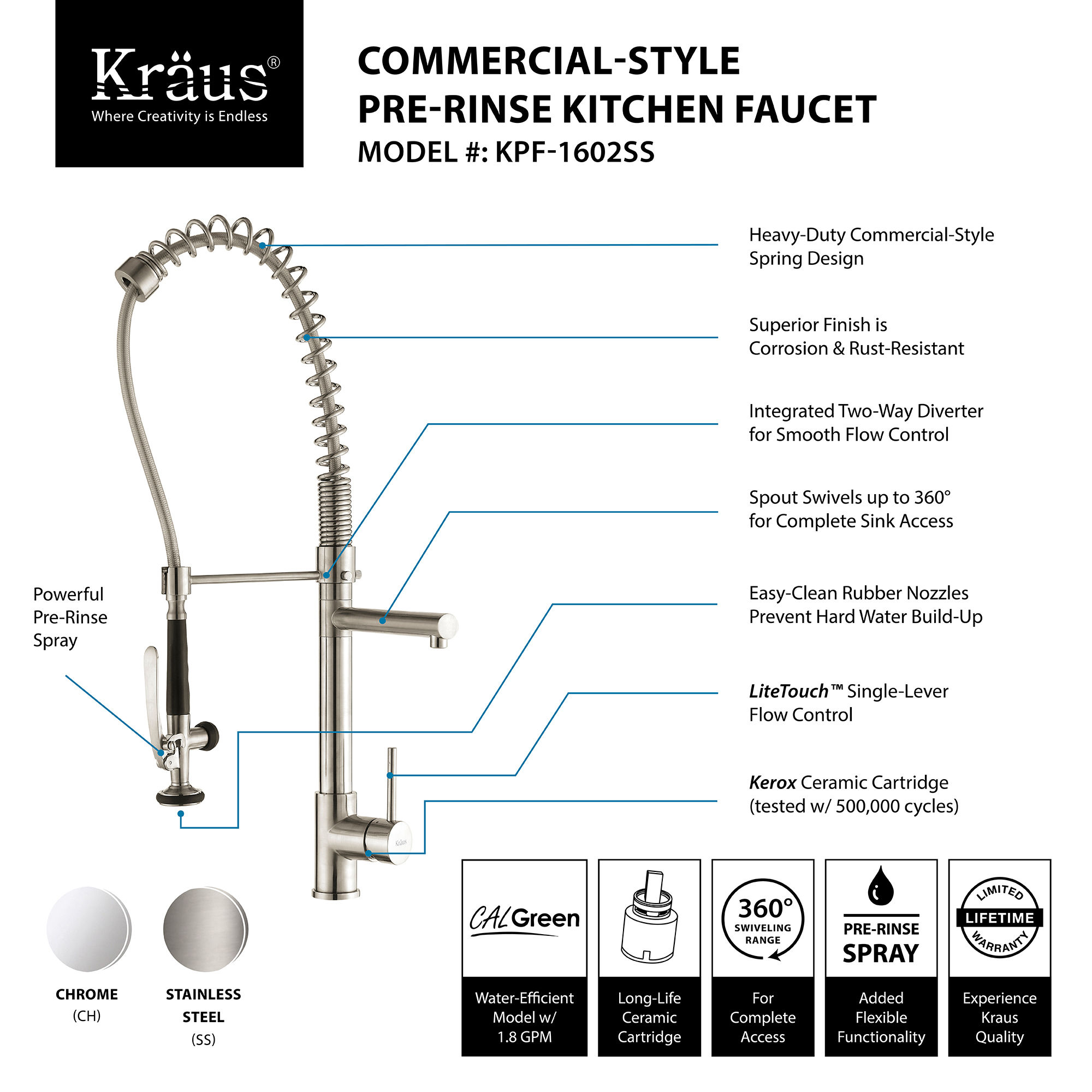Kraus KPF 1602 Chrome mercial Style Pre Rinse Kitchen Faucet