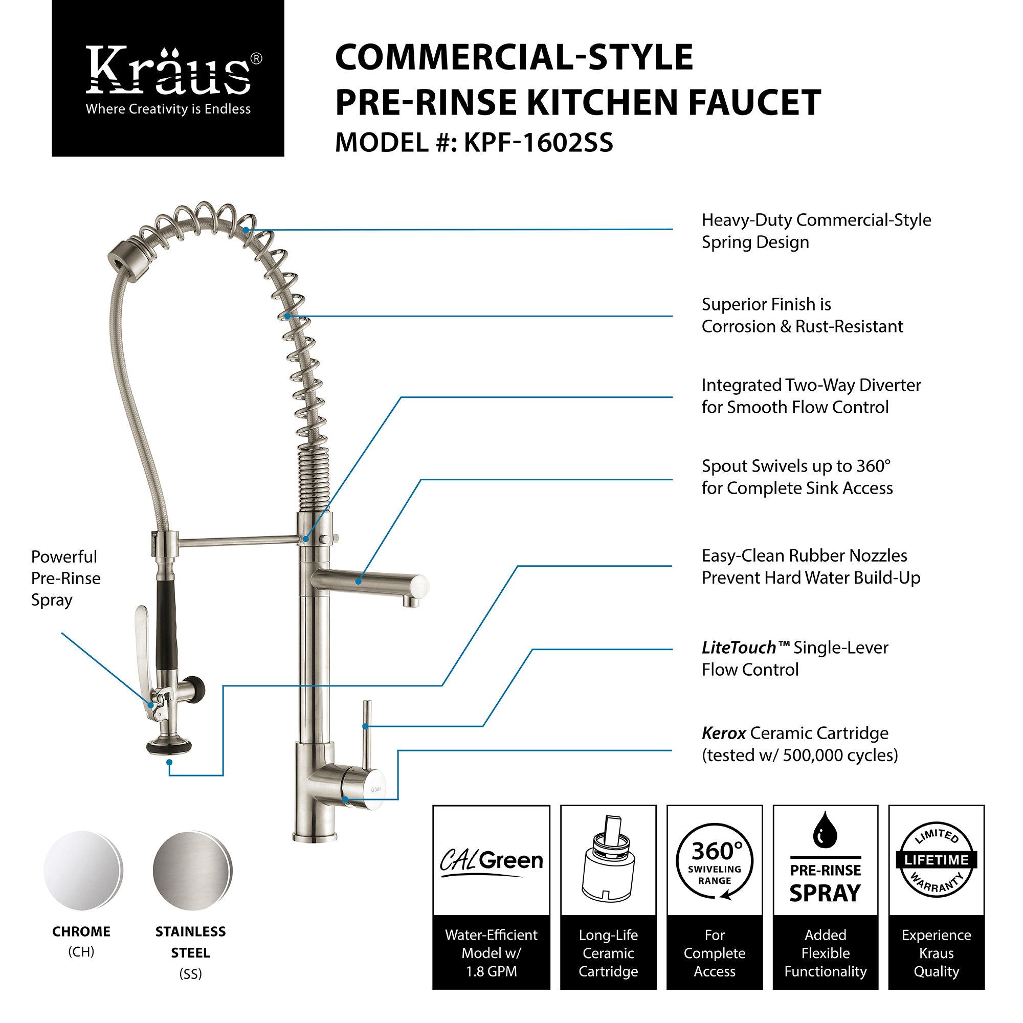Kraus KPF 1602 Chrome mercial Style Pre Rinse Kitchen Faucet