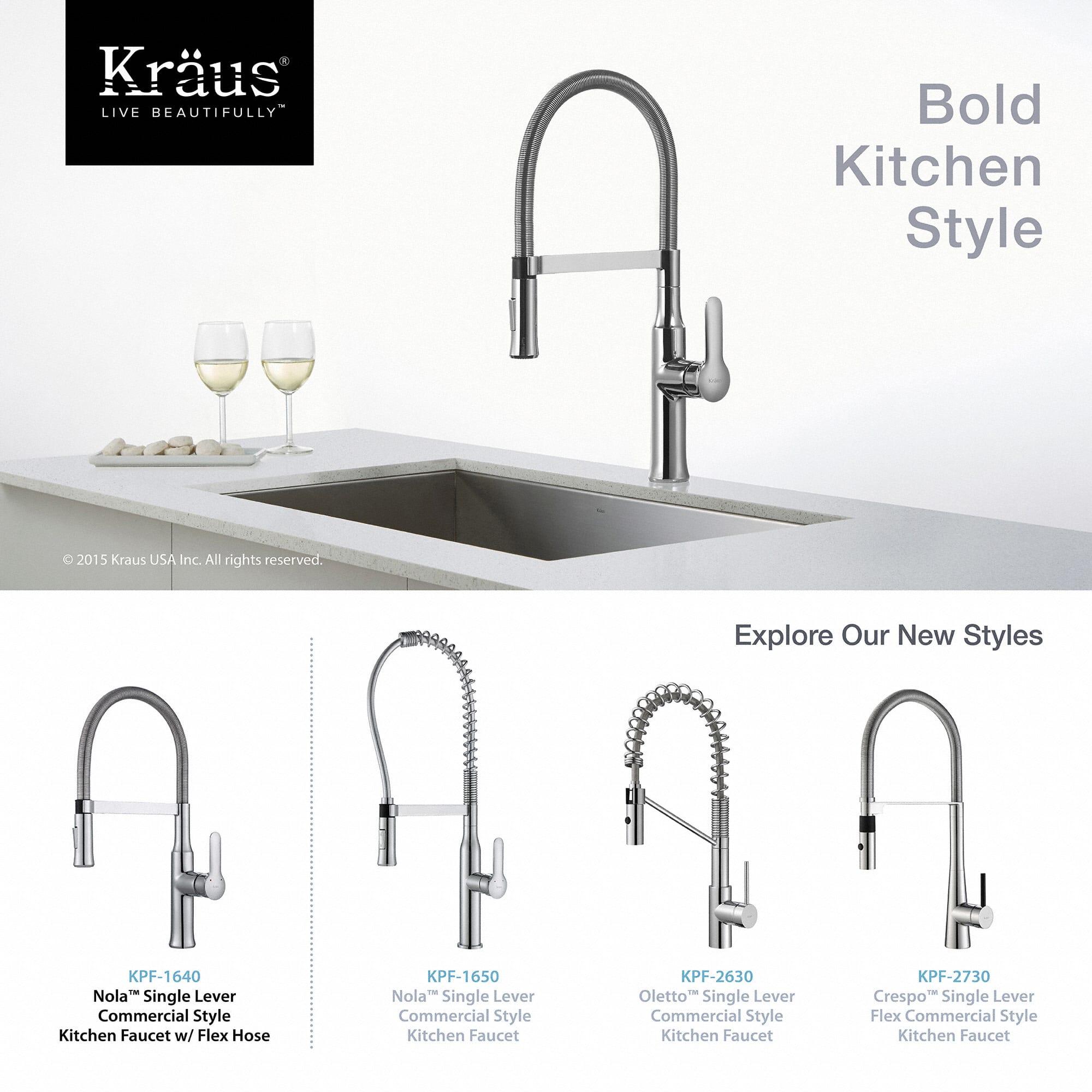 Kraus KPF 1640SS Stainless Steel Nola Single Lever Flex Commercial Style Kitchen  Faucet   Faucet.com