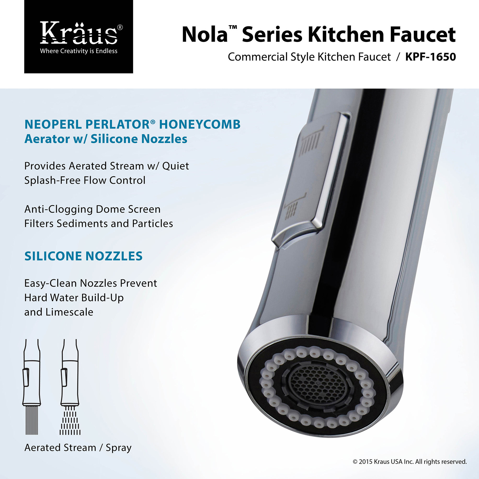 Kraus Usa Inc kraus kpf 1650ss stainless steel nola single lever commercial style