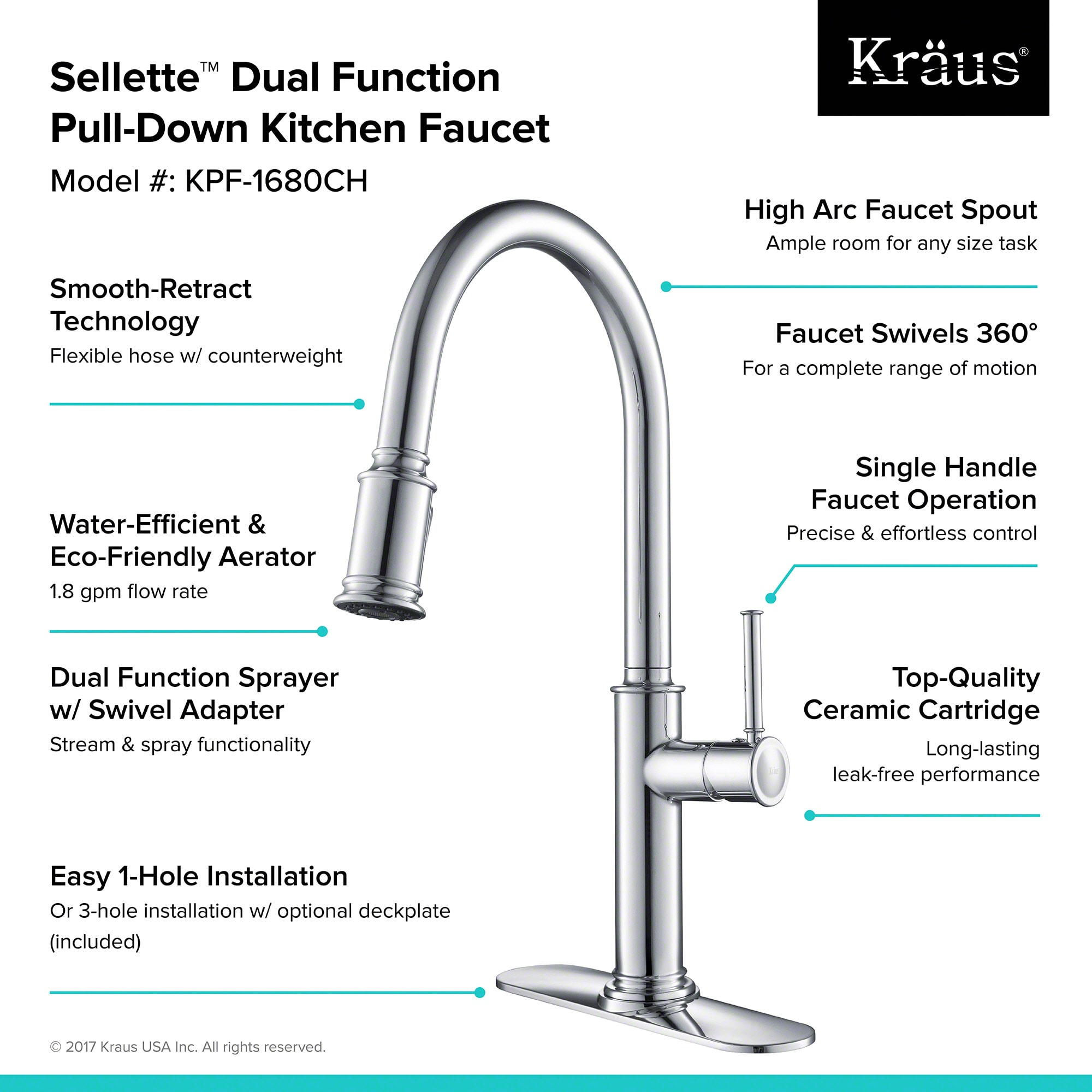 Kraus KPF 1680SFS Spot Free Stainless Steel Sellette Pull Down Spray Kitchen  Faucet With Reach Technology And Optional Escutcheon   Faucet.com
