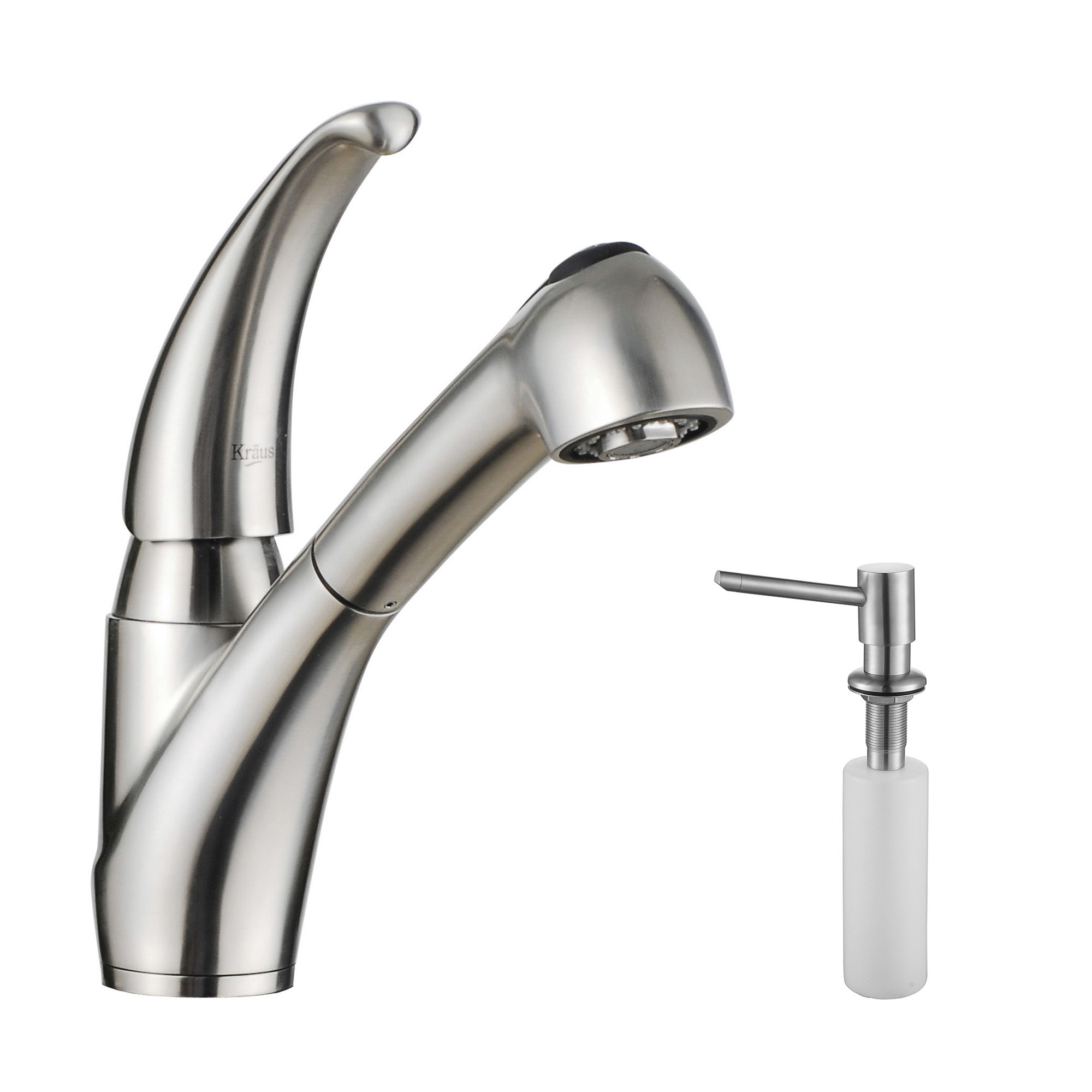 kraus kpf 2110 sd20 stainless steel stainless steel pullout spray kitchen faucet with soap dispenser faucetcom - Pull Out Kitchen Faucet