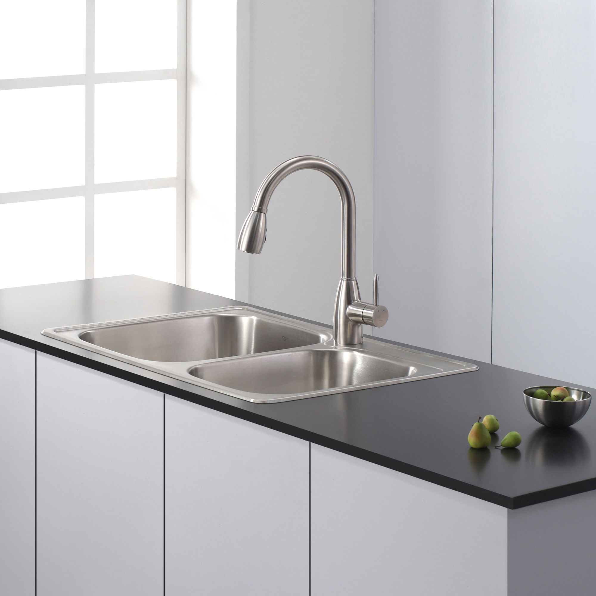 Kraus KPF 2130 Stainless Steel Pullout Spray Kitchen Faucet With Swiveling  Spout And Dual Function Spray Head   FaucetDirect.com