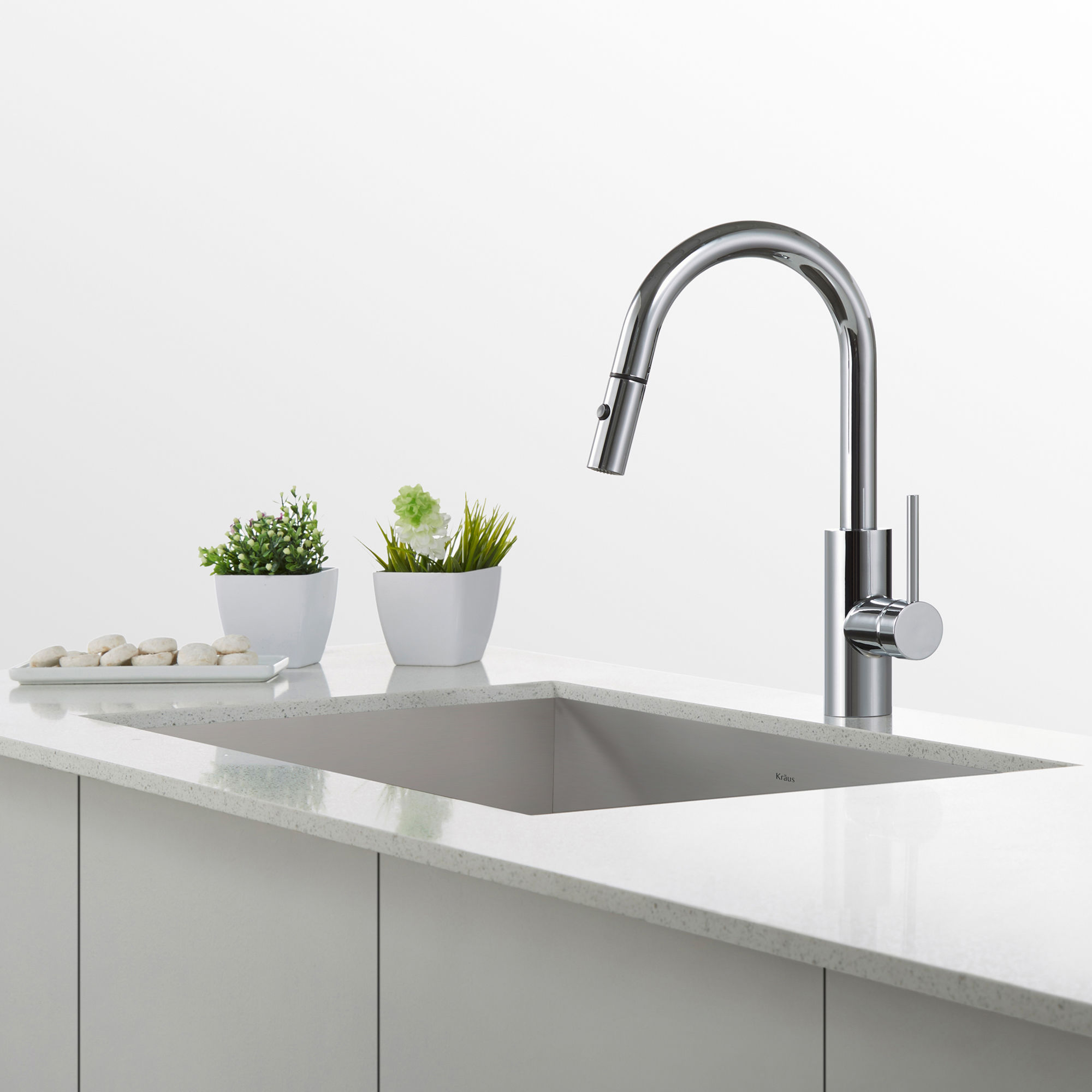 Kraus KPF-2620SS Stainless Steel Oletto Pull Down Kitchen Faucet ...