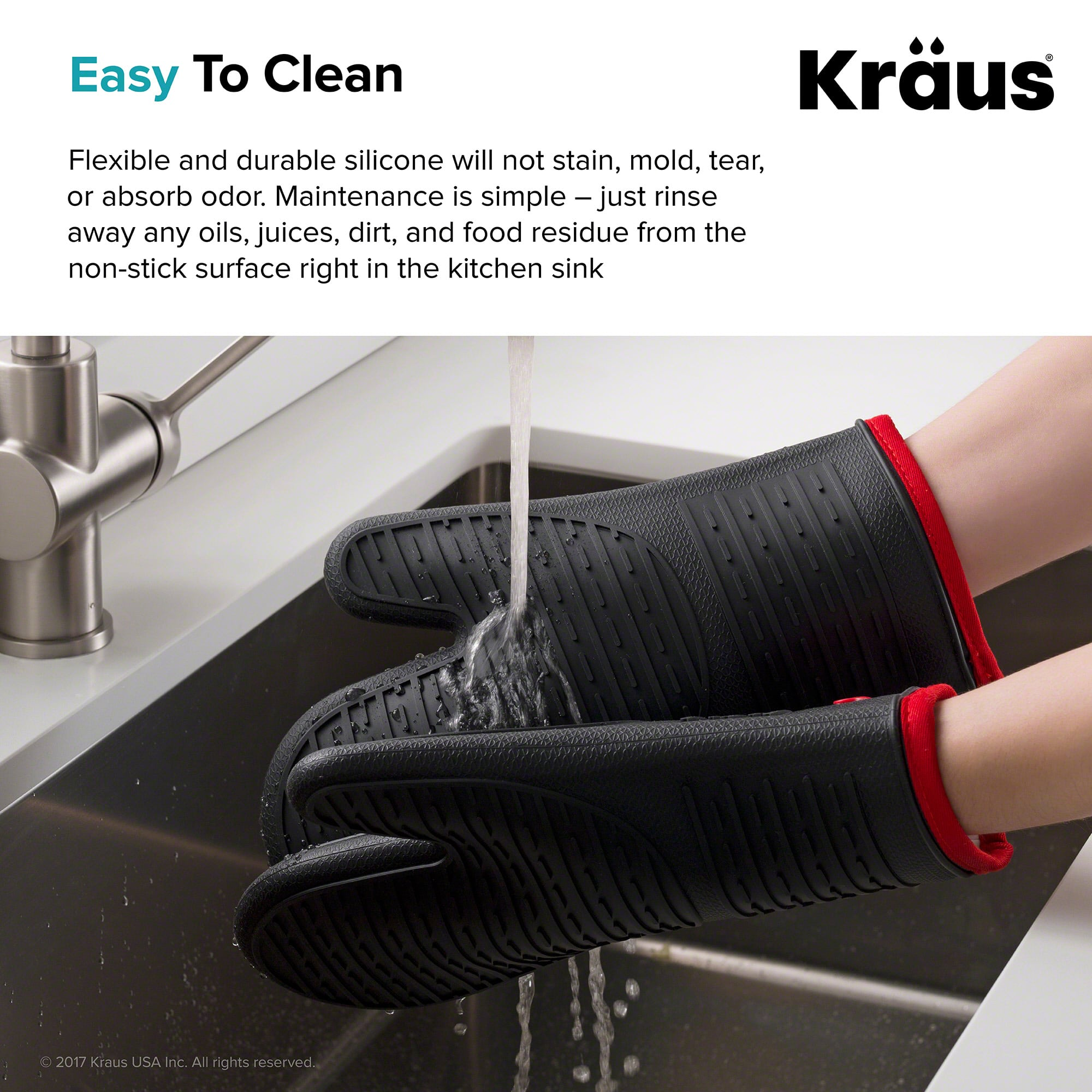 Kraus KSM-1B-KSM-1B Black Silicone Kitchen Mitt Set - Faucet.com