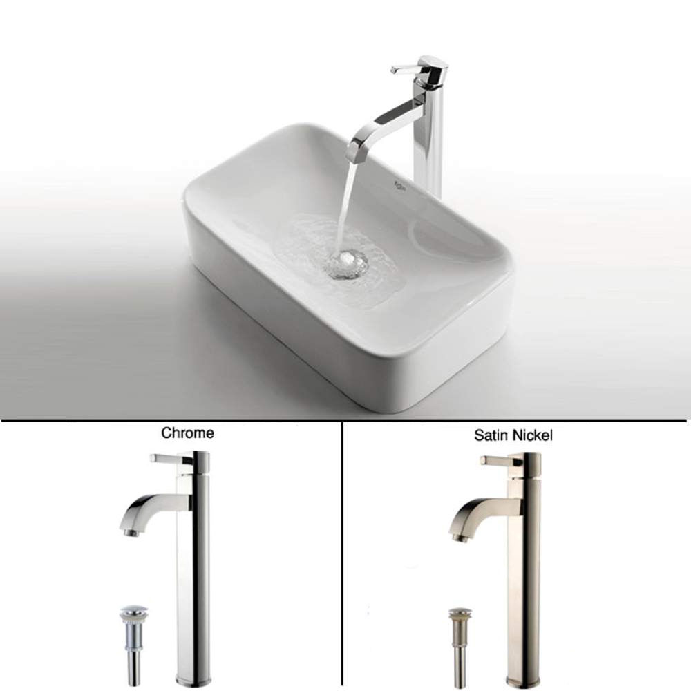 Kraus C-KCV-122-1007SN Satin Nickel Bathroom Combo - 19-1/4\