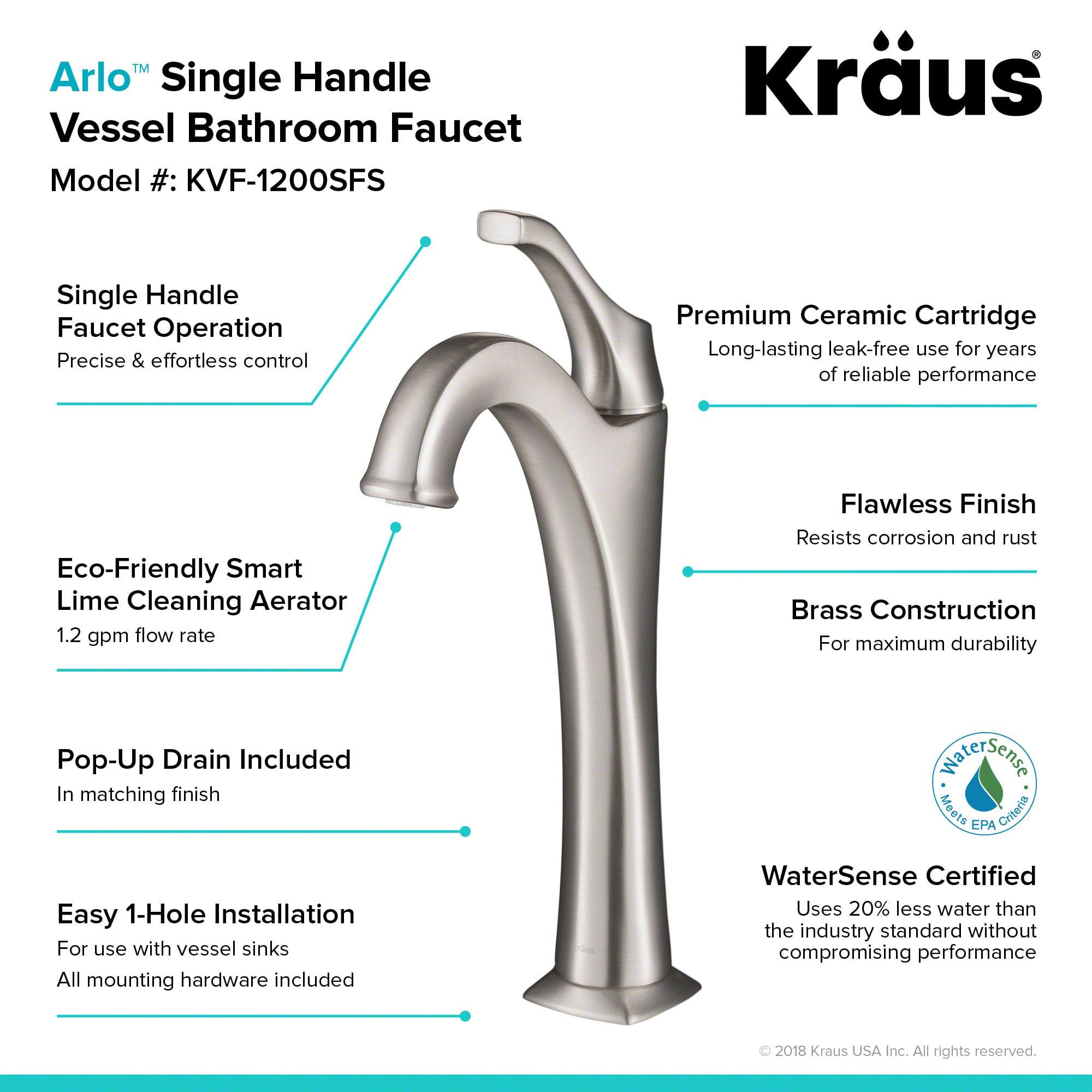 Kraus KVF-1200CH Chrome Arlo 1.2 GPM Deck Mounted Bathroom Faucet ...
