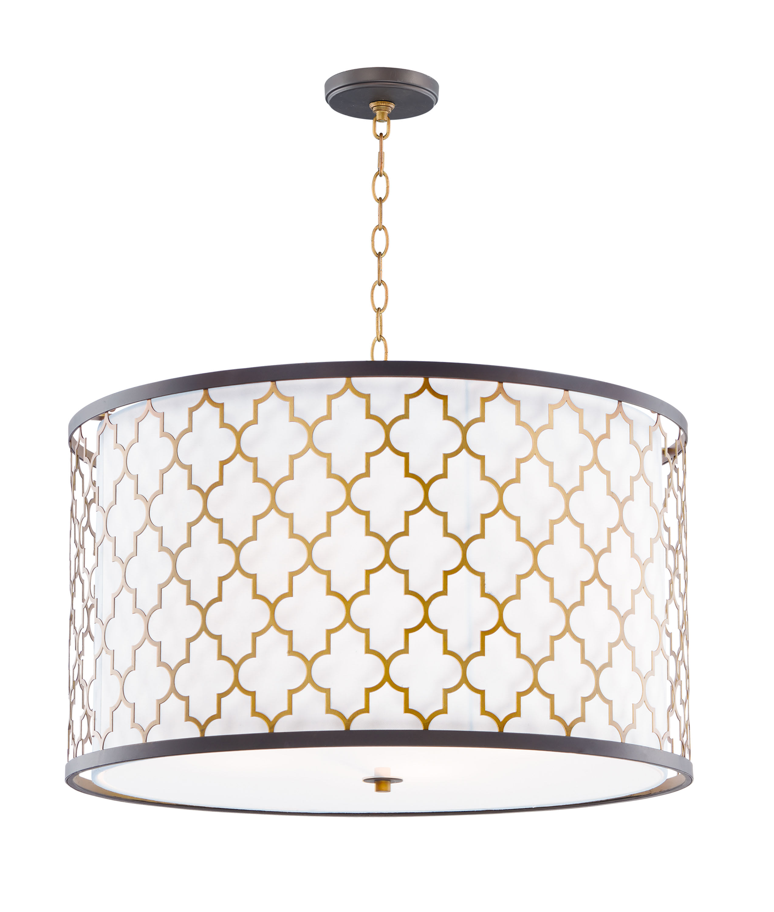 Image of: Maxim 20295wloiab Oil Rubbed Bronze Antique Brass Crest 4 Light 24 Wide Drum Chandelier With Fabric Drum Shade Lightingdirect Com