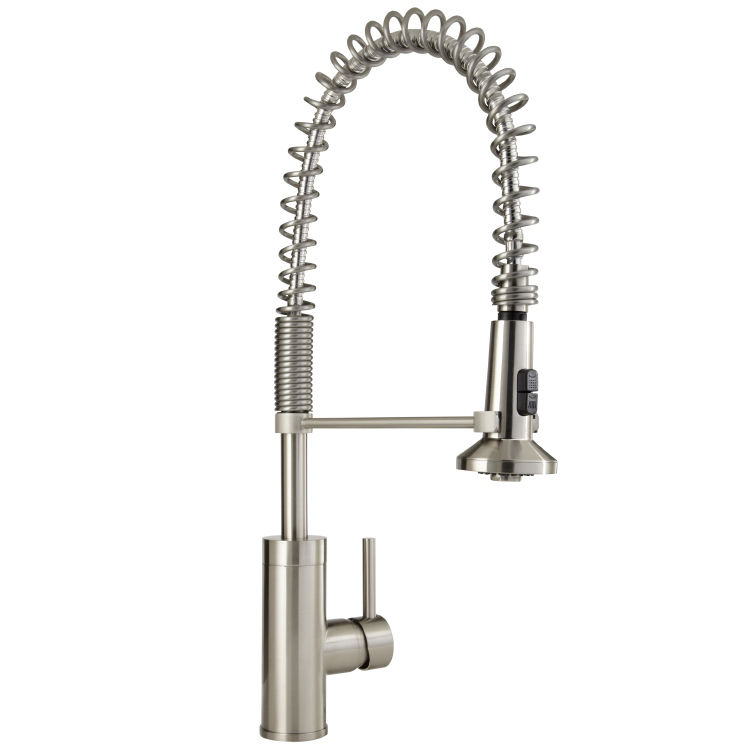 Mirabelle MIRXCPS100SS Stainless Steel Presidio Pull Down Pre Rinse Kitchen  Faucet With High Arch Coiled Gooseneck Spout   FaucetDirect.com