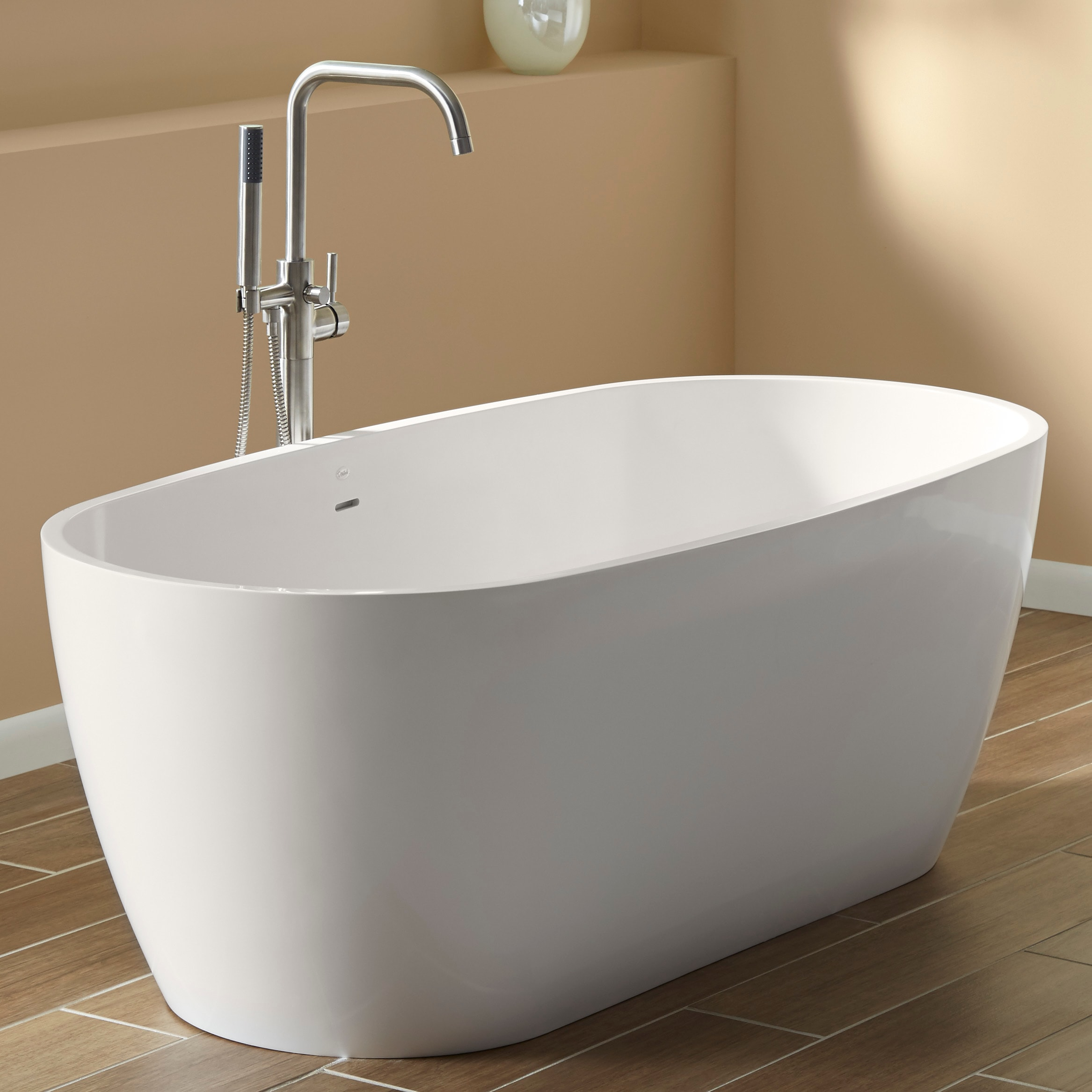 Mirabelle Mirocfs6632wh White 66 Free Standing Soaking Tub With Center Drain Faucet Com