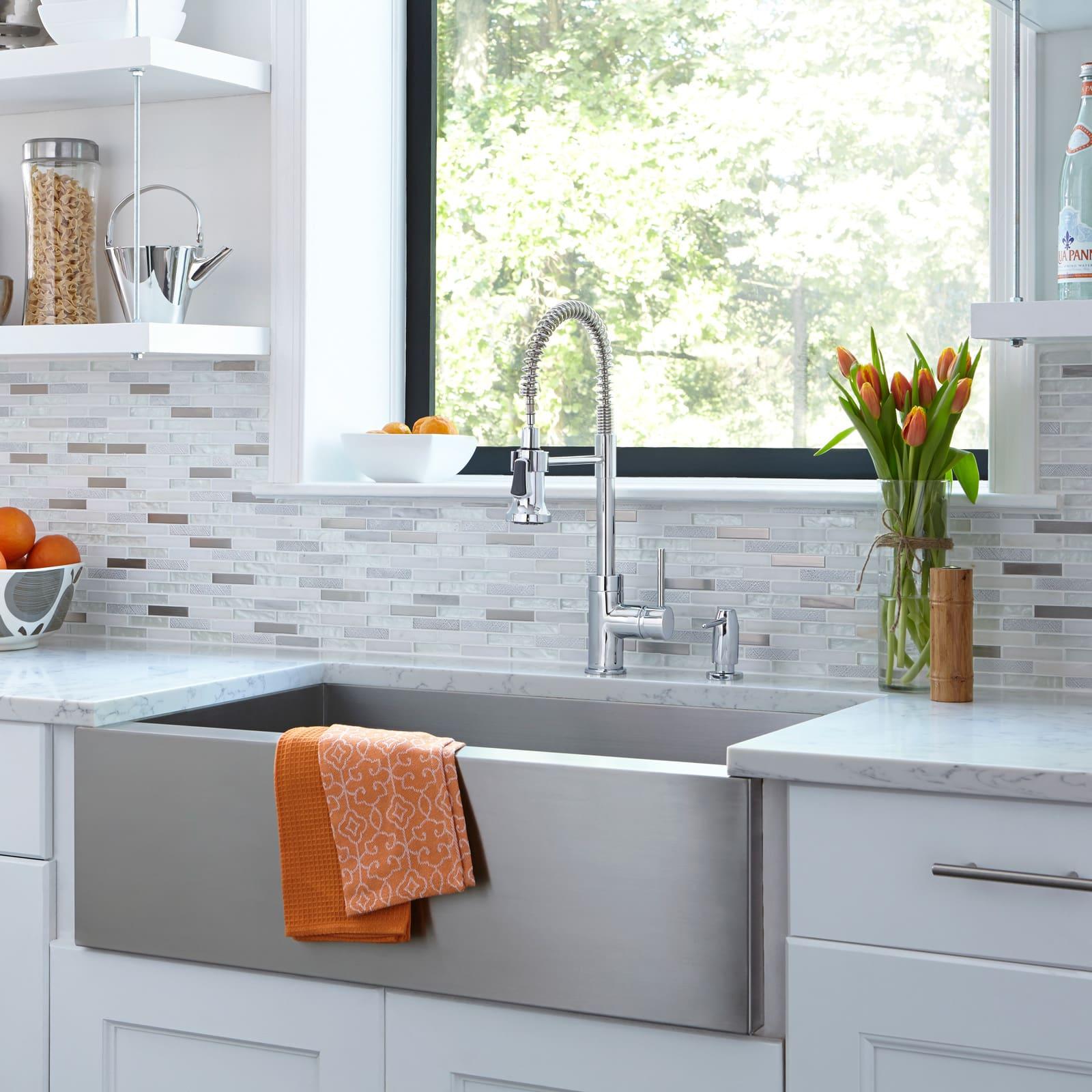 Mirabelle MIRXCPS101SS Stainless Steel Presidio Kitchen Faucet ...