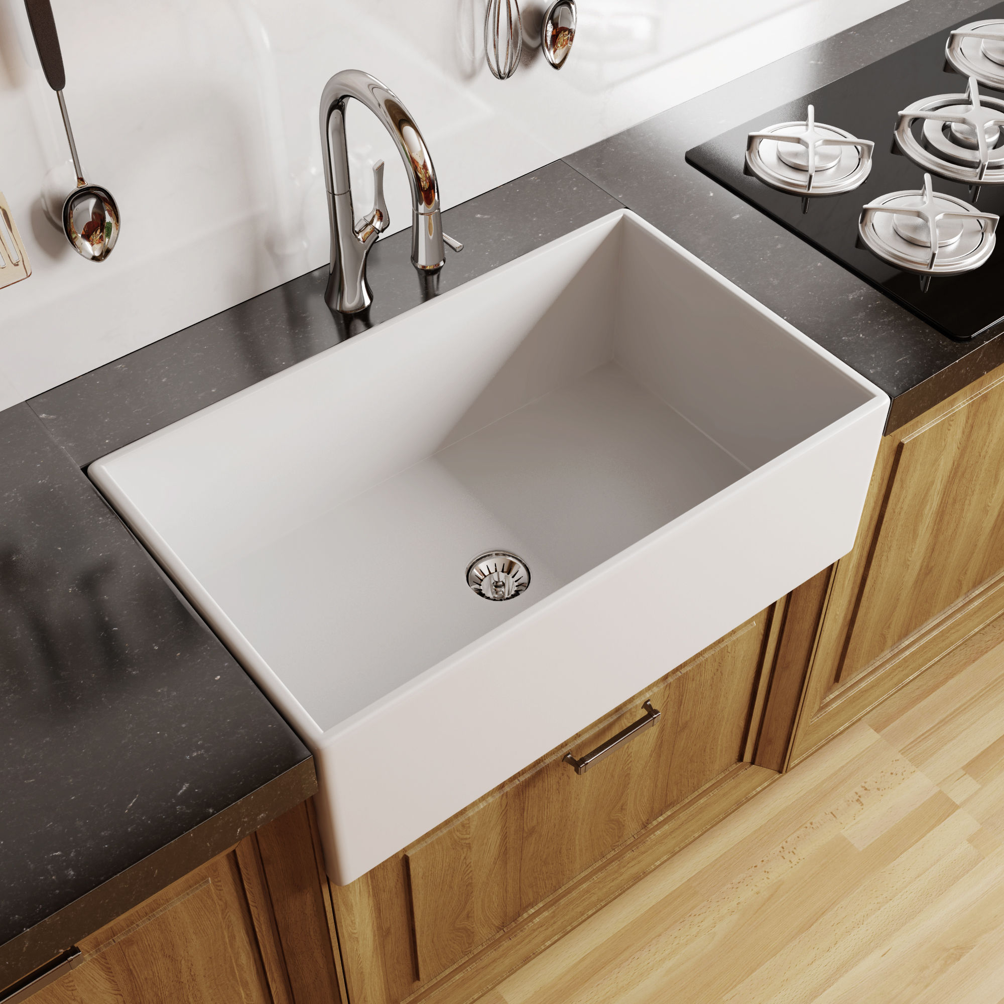Miseno Mno33201afc White Inferno 33 Single Basin Farmhouse Fireclay Kitchen Sink Faucet