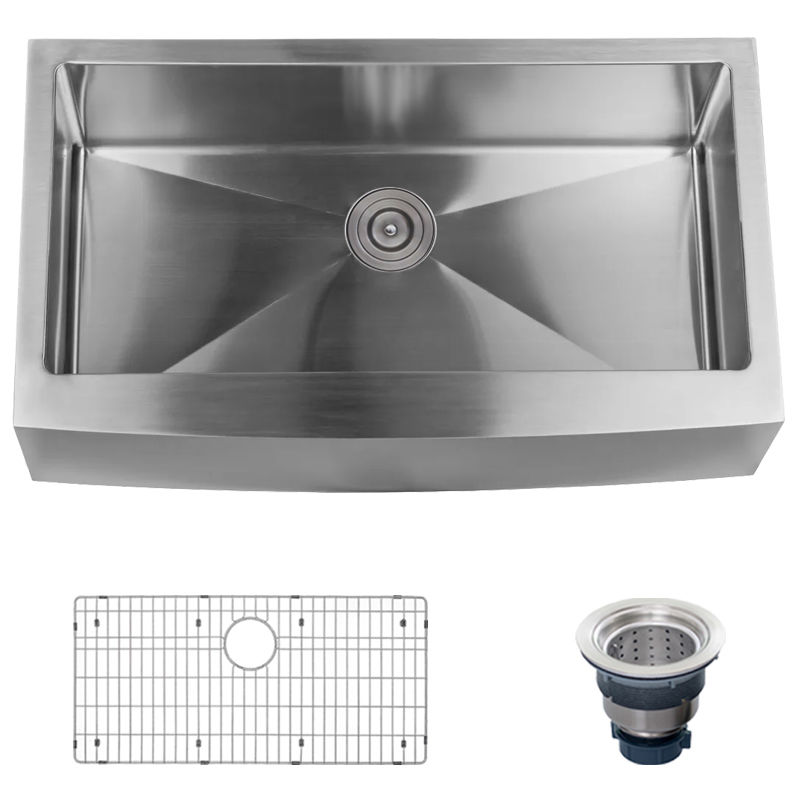 Miseno Mno163620f 16 Gauge Stainless Steel Farmhouse 36 Single Basin Kitchen Sink With A Front Drain Embly And Ed Rack
