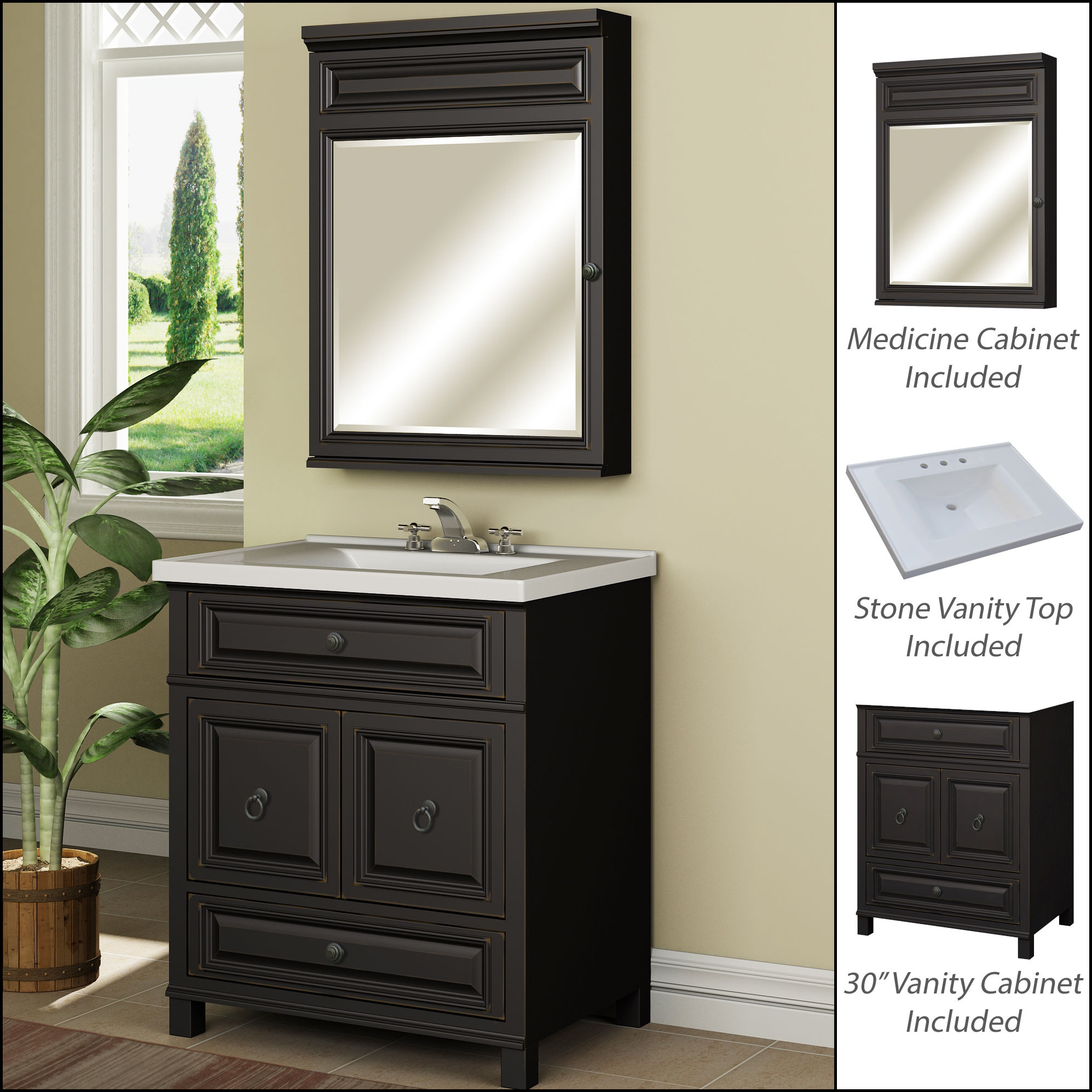 "miseno mvbh30com antique espresso 30"" bathroom vanity set - cabinet 30 Bathroom Vanity"