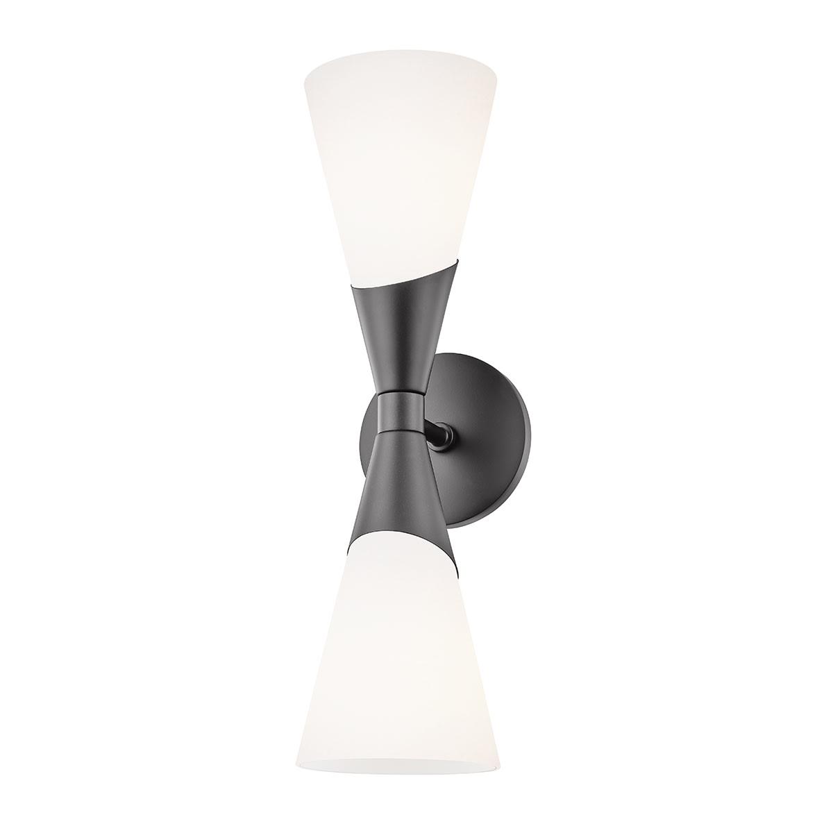 Image of: Mitzi H312102 Blk Glossy Black Parker 2 Light 18 Tall Bathroom Sconce Lightingshowplace Com