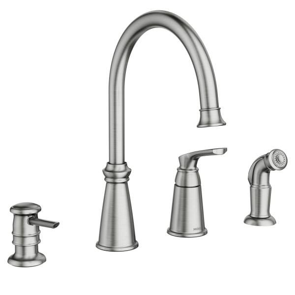 Moen 87044SRS Spot Resist Stainless Whitmore Single Handle High Arch Kitchen  Faucet With Side Spray And Soap Dispenser   FaucetDirect.com