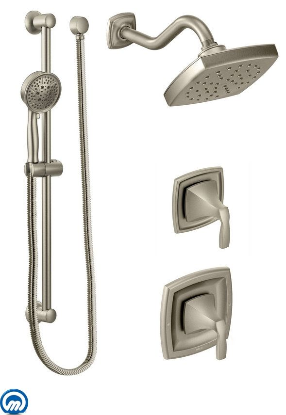 Moen 435bn Brushed Nickel Pressure Balanced Shower System With Rain Integrated Volume Control Diverter And Hand From The Voss Collection