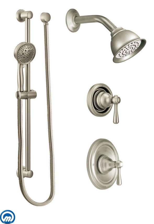 Bon Moen 525BN Brushed Nickel Pressure Balanced Shower System With Shower Head,  Diverter, And Hand Shower From The Kingsley Collection (Valves Included) ...