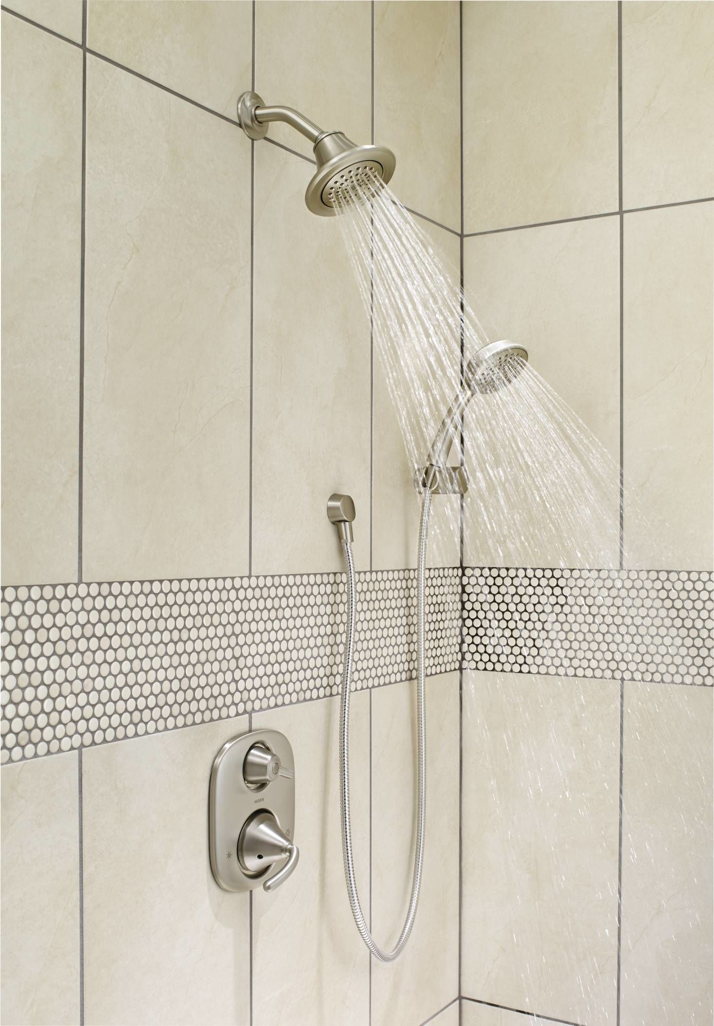 shower bar system. Moen 600 Chrome Pressure Balanced Shower System With Diverter, Integrated Volume Control, Slide Bar, And Hand From The Icon Collection (Valves Bar S