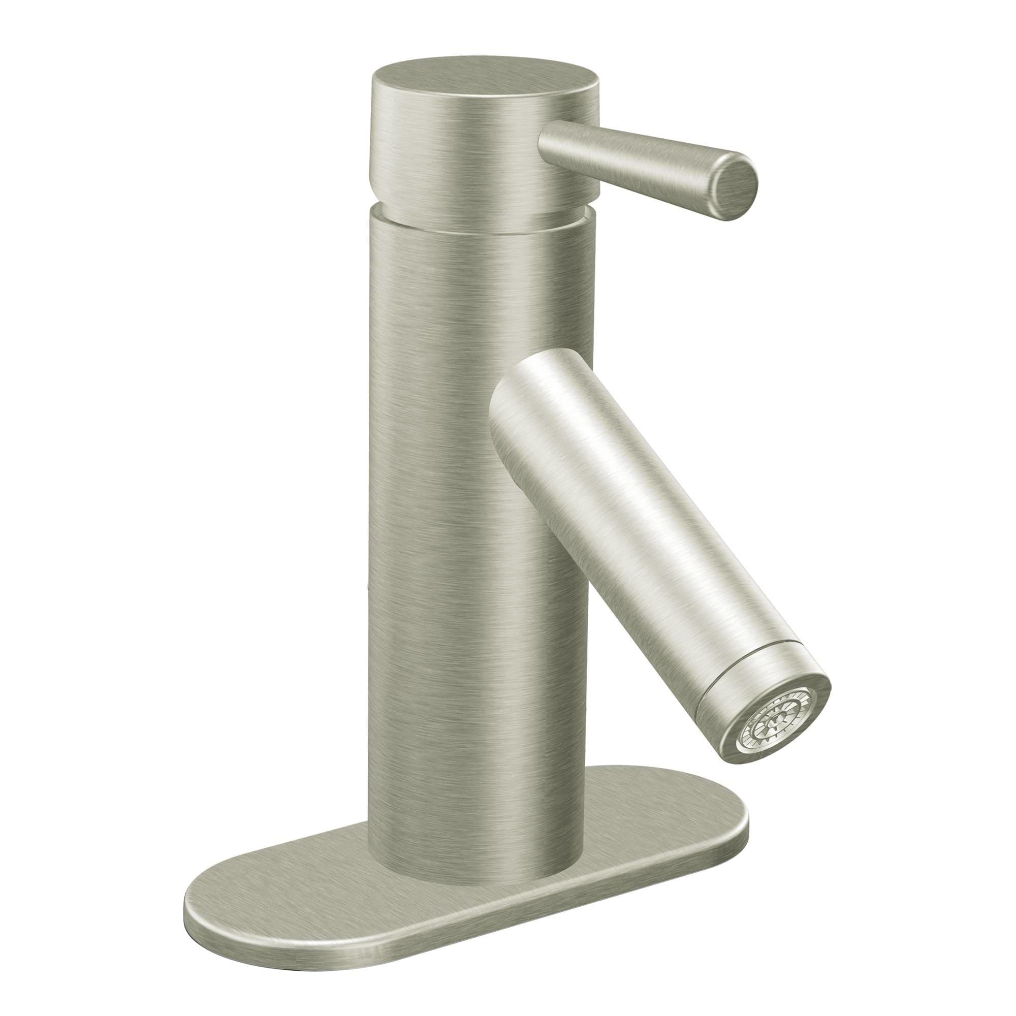 Moen 6100BN Brushed Nickel Single Handle Single Hole Bathroom Faucet ...
