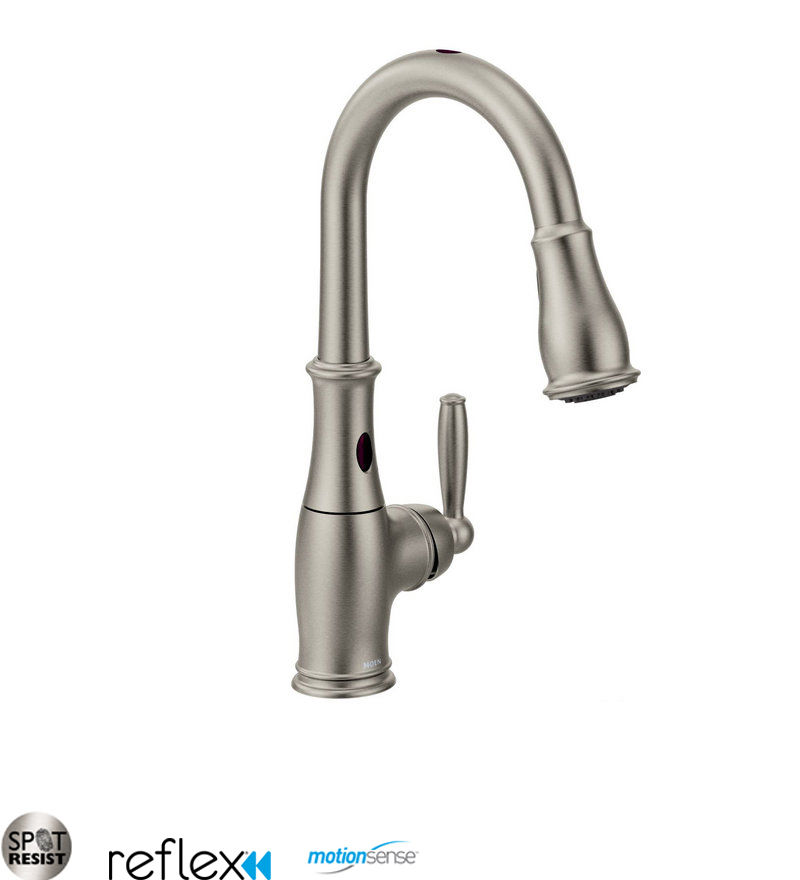 Moen 7185ESRS Spot Resist Stainless Single Handle Touchless Pullout Spray Kitchen  Faucet With Reflex And MotionSense Technologies From The Brantford ...