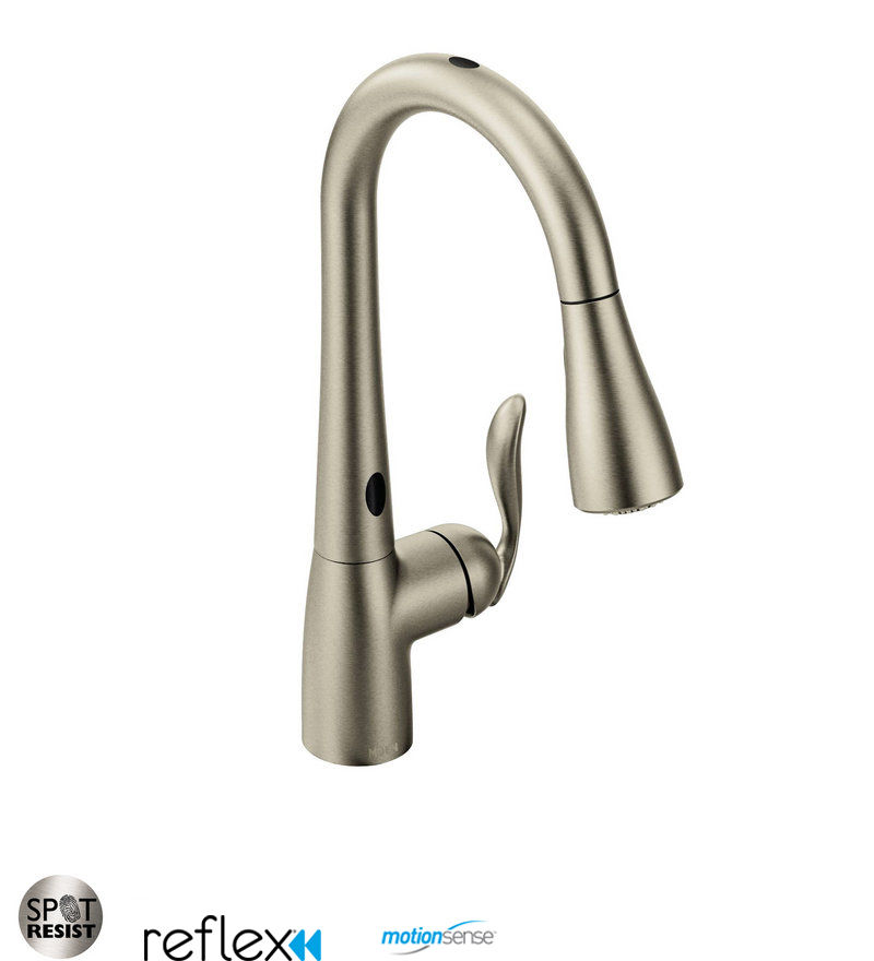 Moen 7594ESRS Spot Resist Stainless Single Handle Touchless Pulldown ...