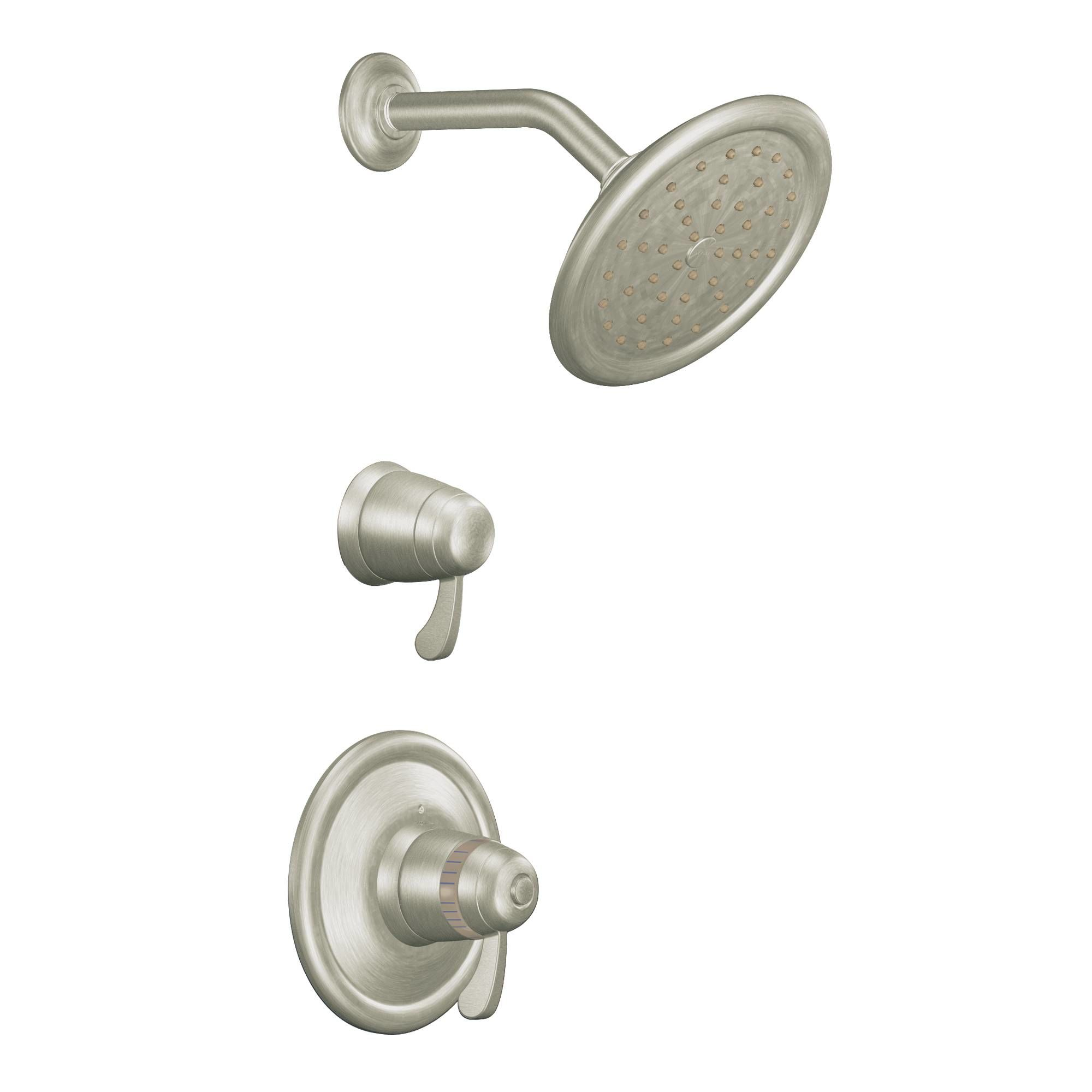 single the handle eva less brushed collection balanced moen performance posi from eco faucet with pressure temp nickel shower head tub trim and