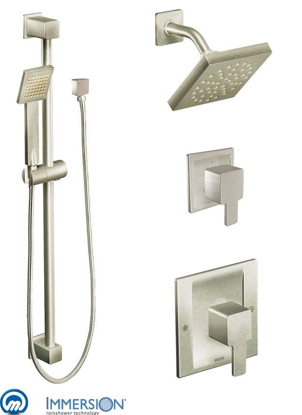 moen 825bn brushed nickel positemp shower system with rain shower diverter and hand shower from the 90 degree collection valves included