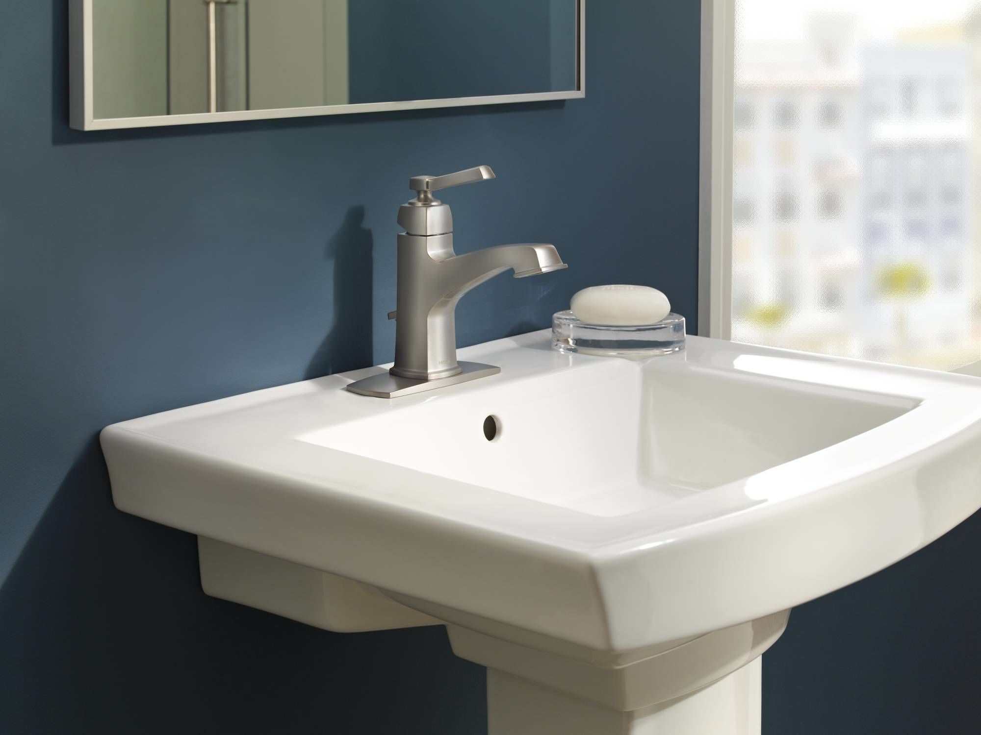 Moen 84805SRN Spot Resist Brushed Nickel Single Handle Single Hole Bathroom  Faucet From The Boardwalk Collection (Valve Included)   FaucetDirect.com