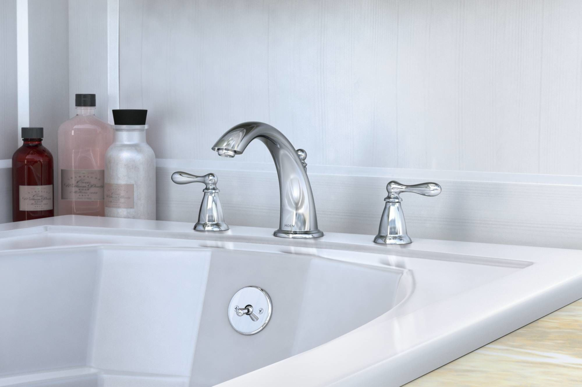 Moen 86440 Chrome Deck Mounted Roman Tub Faucet Trim from the ...
