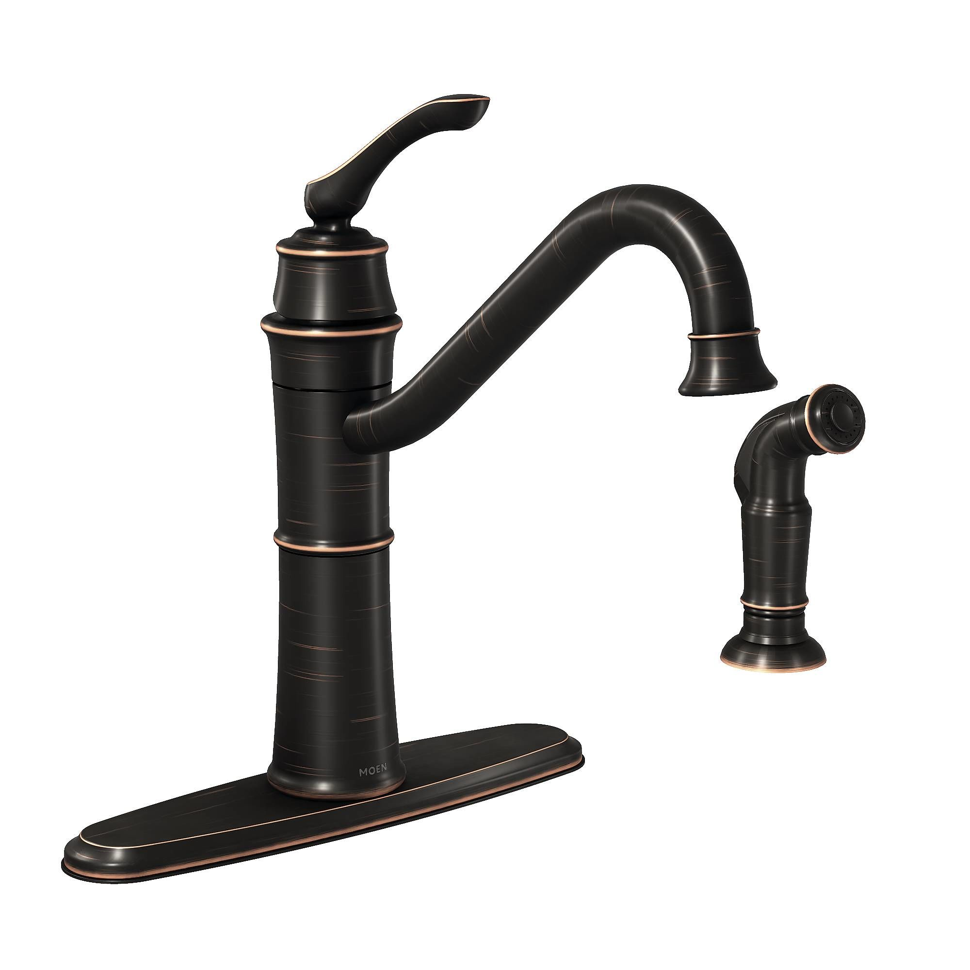 Moen BRB Mediterranean Bronze HighArc Kitchen Faucet With Side - Moen black kitchen faucet