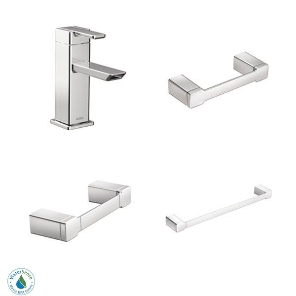 Moen 90 Degree Faucet And Accessory Bundle 1ch Chrome With Single Hole Bathroom Toilet Paper Holder 24 Towel Bar Ring