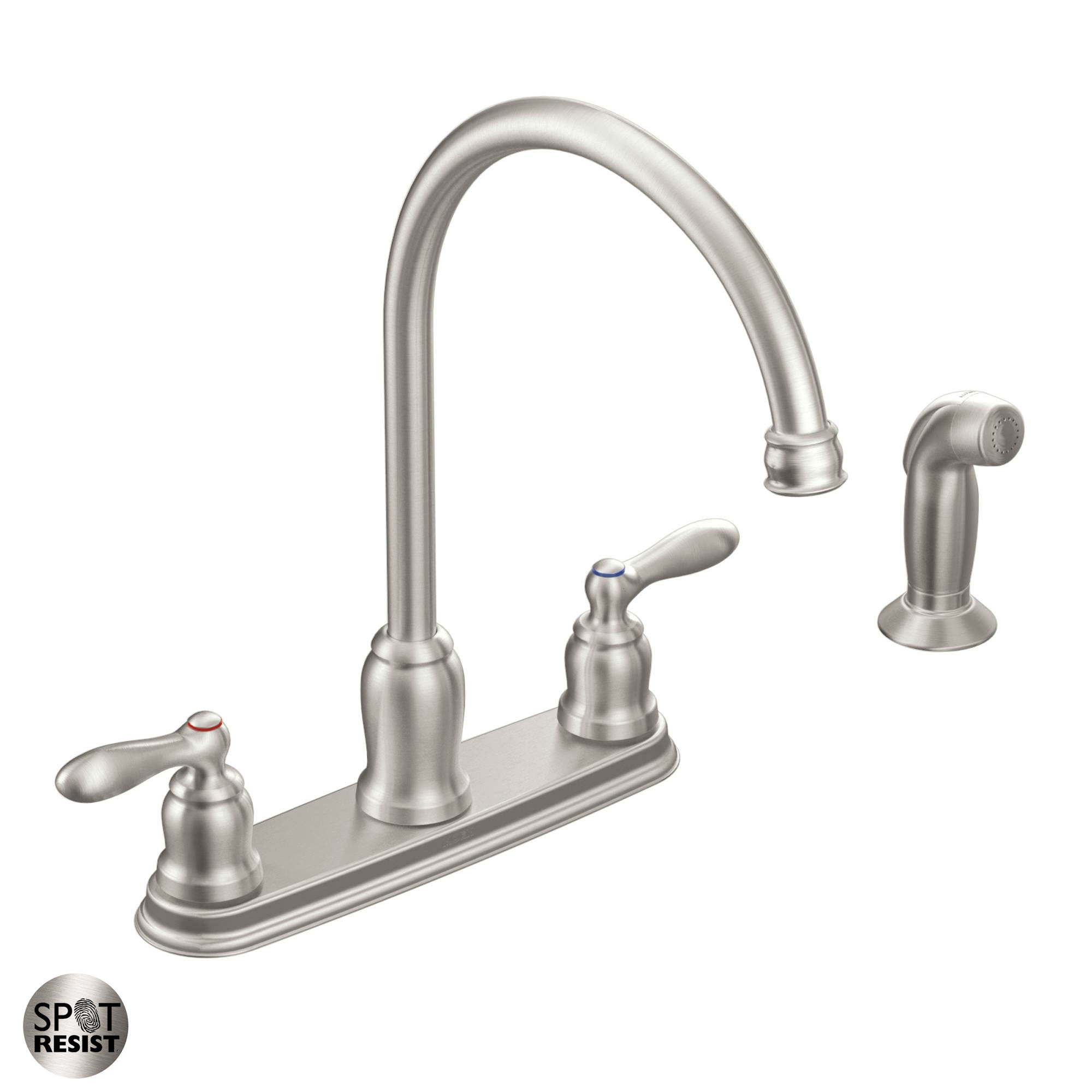 Moen ca87060srs spot resist stainless high arc kitchen faucet with side spray from the caldwell collection faucet com